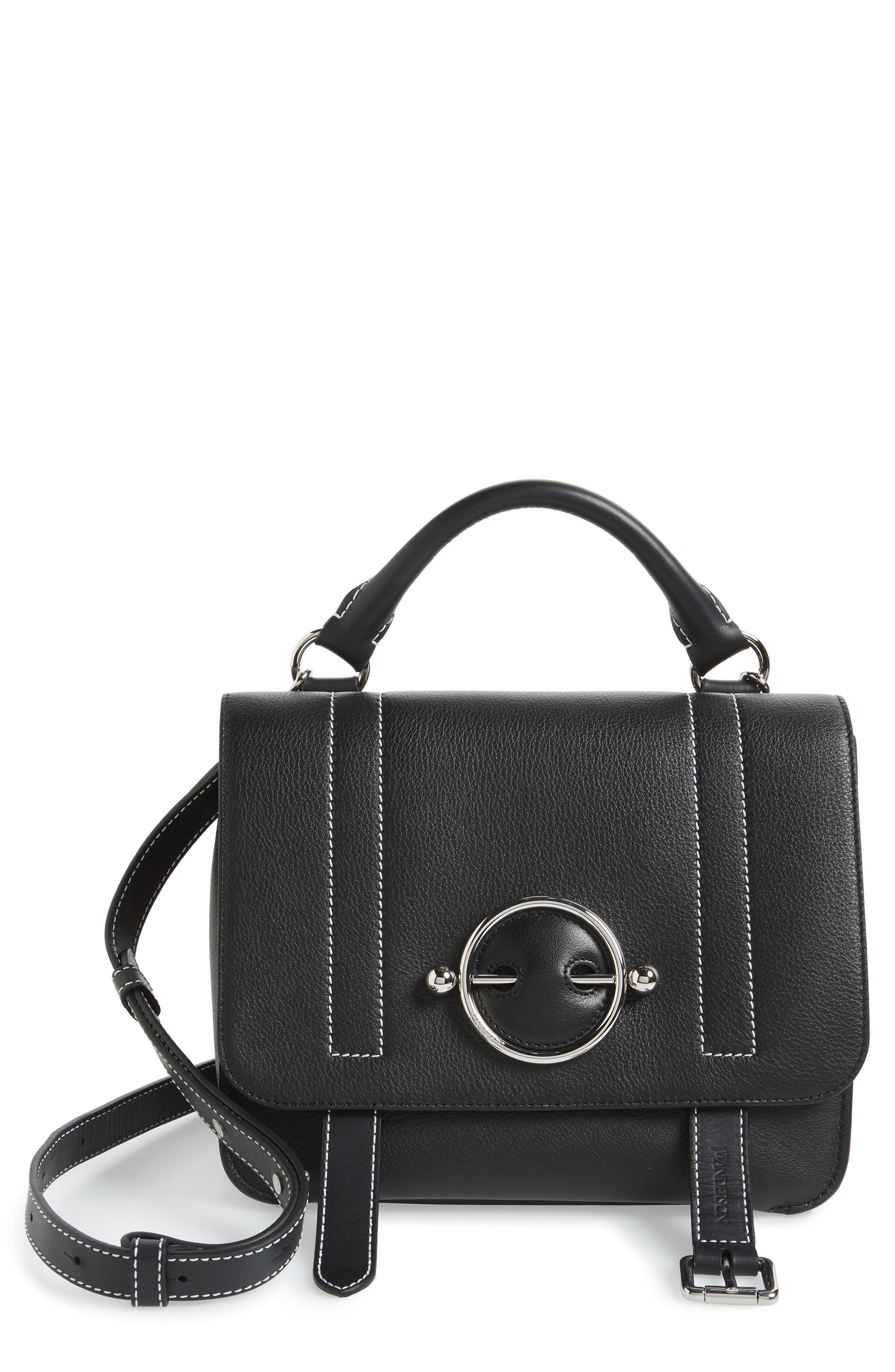 JW ANDERSON Disc Leather Top Handle Satchel, Main, color, BLACK