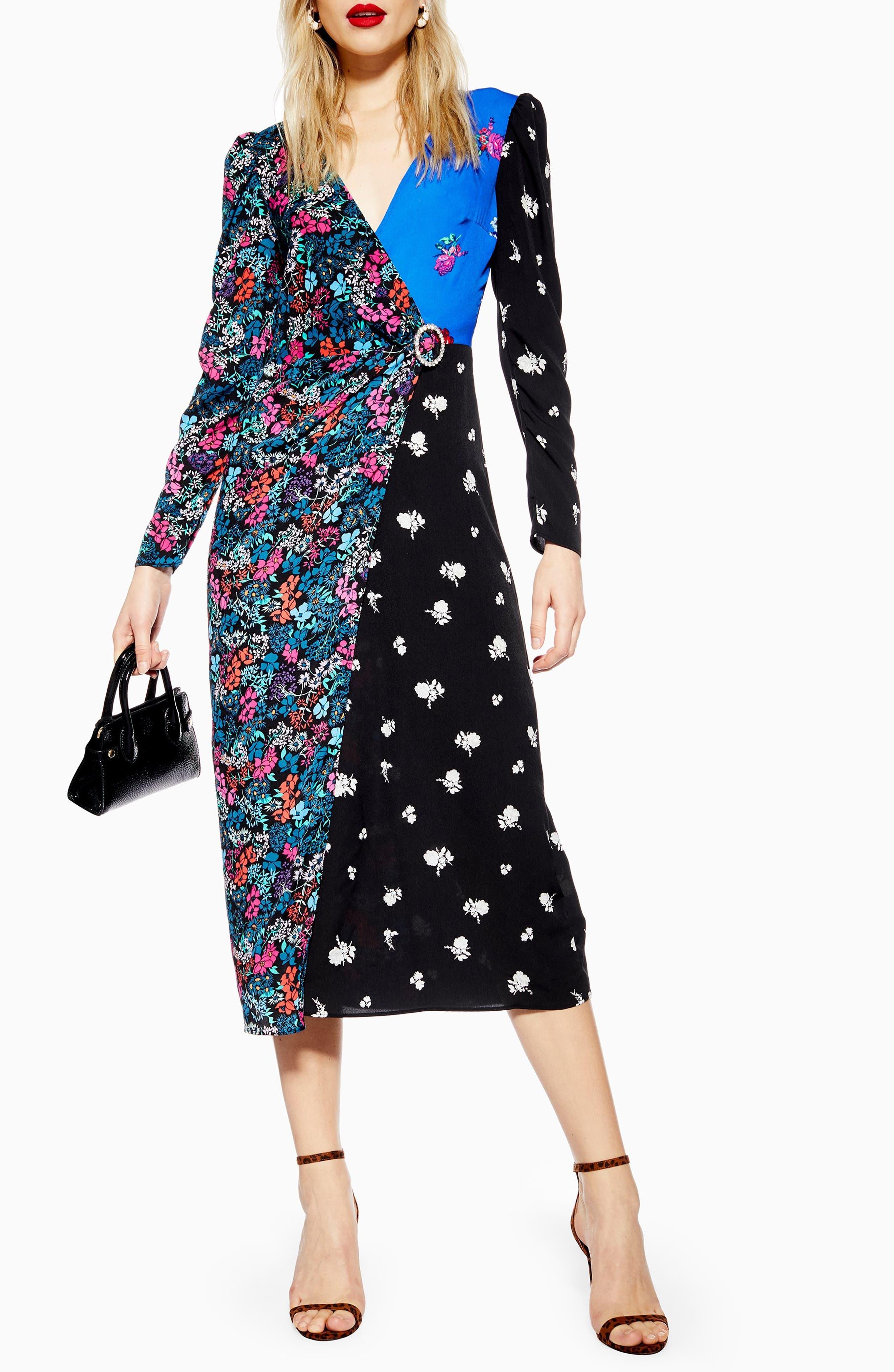 Topshop Grand Estate Mix Midi Dress, US (fits like 0) - Blue