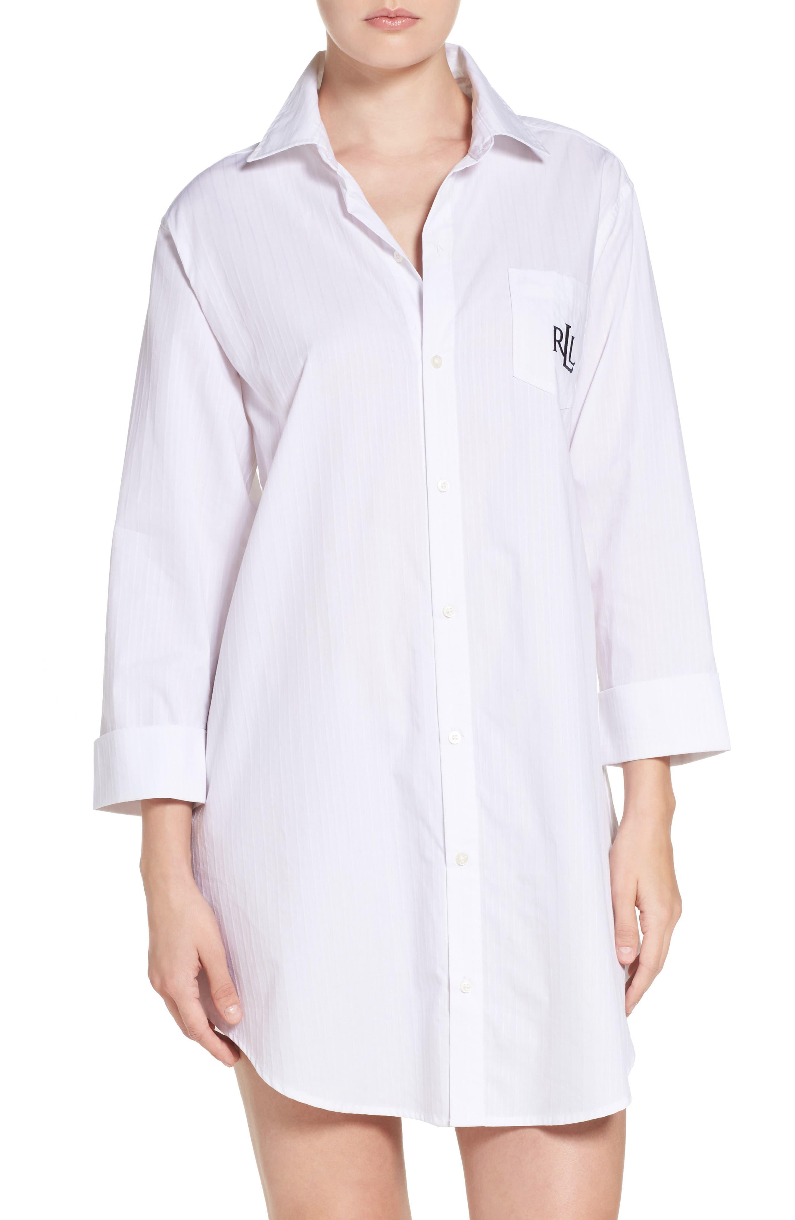 LAUREN RALPH LAUREN His Sleep Shirt, Main, color, WHITE