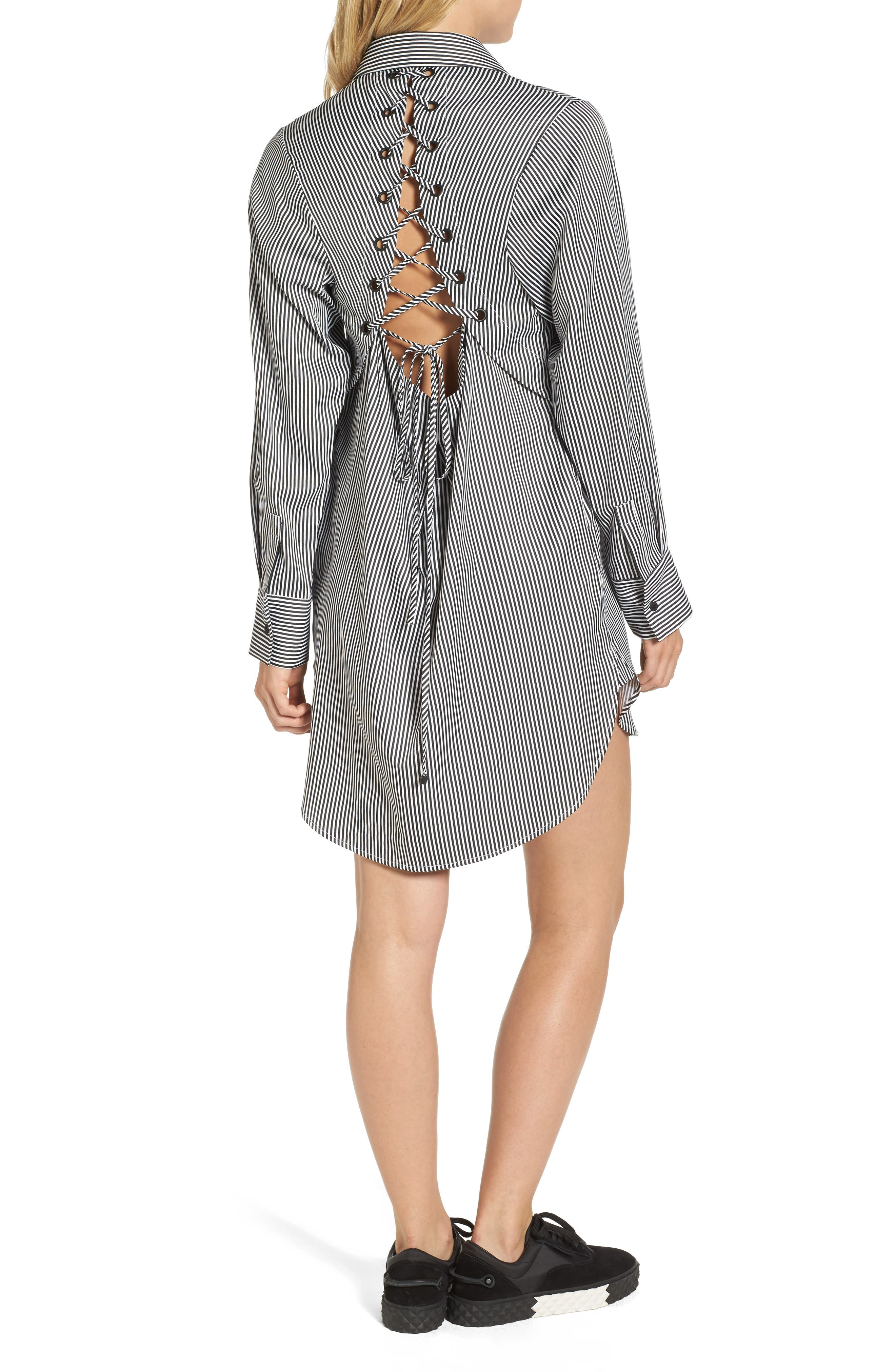 Lace-Up Back Shirtdress,                             Alternate thumbnail 2, color,                             002