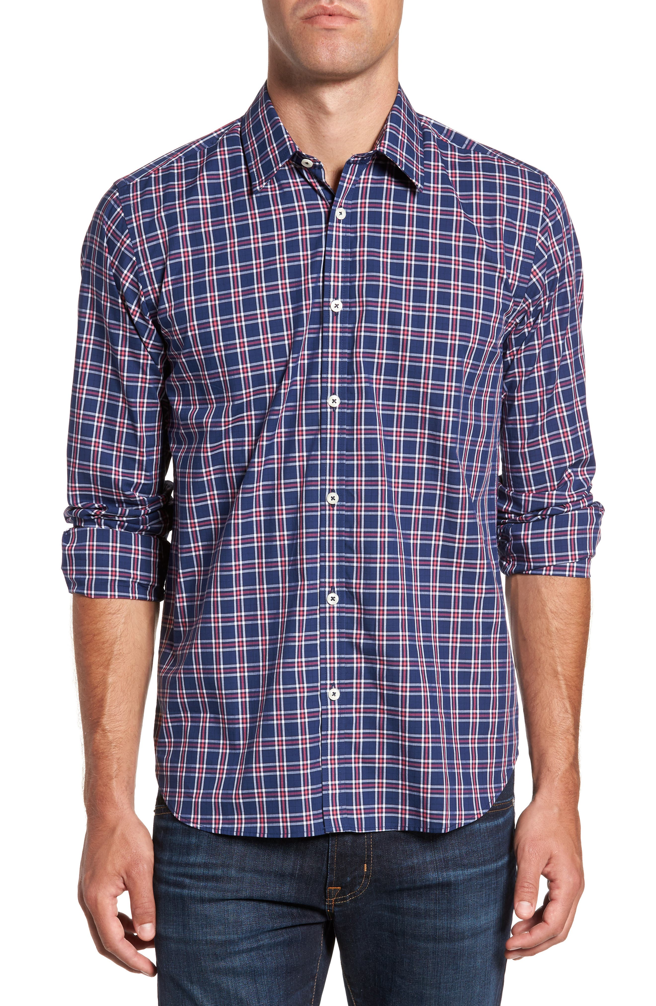 Slim Fit Plaid Sport Shirt,                         Main,                         color, 412