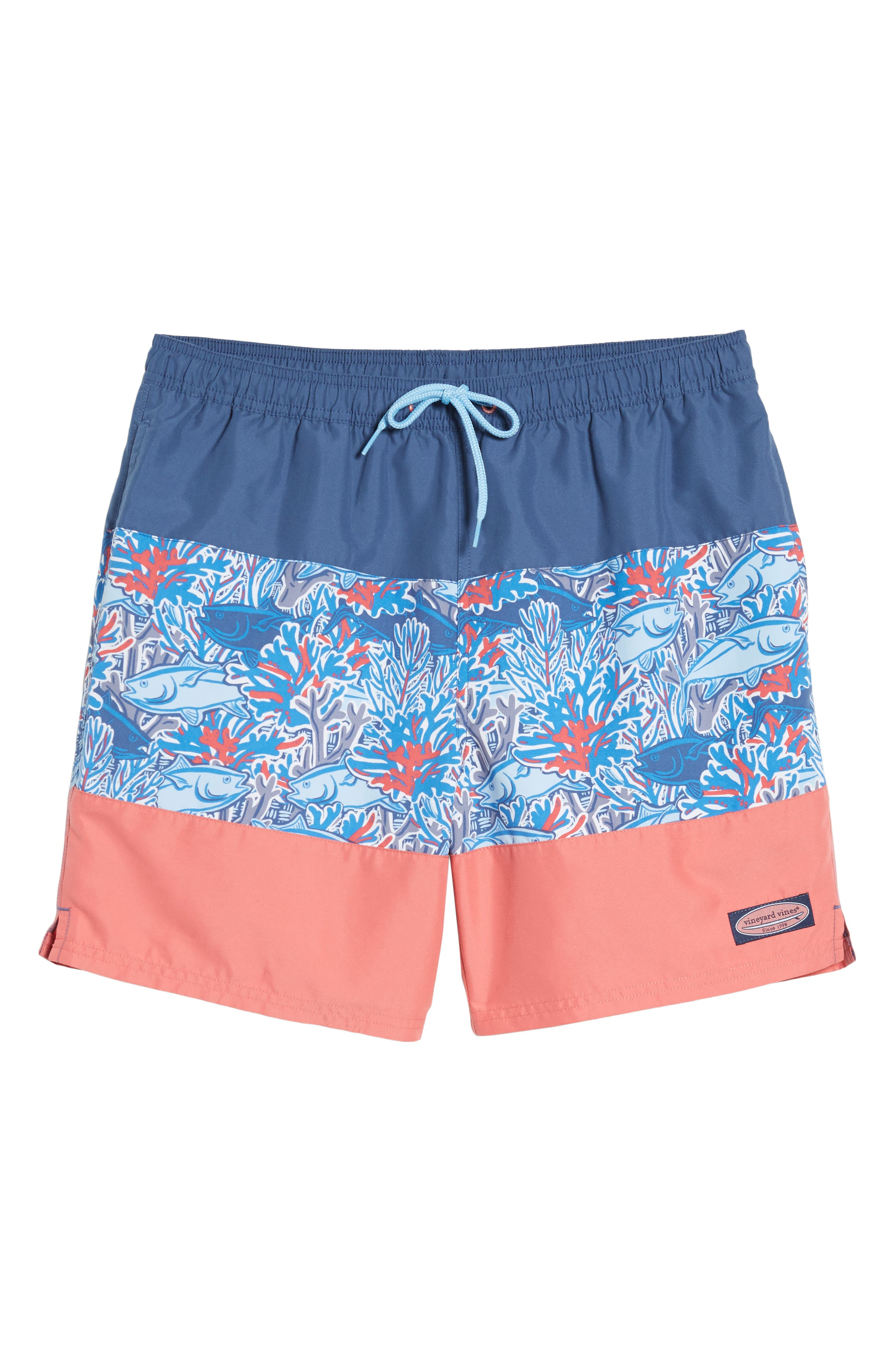 Chappy - Tuna in Coral Pieced Print Swim Trunks,                             Alternate thumbnail 6, color,