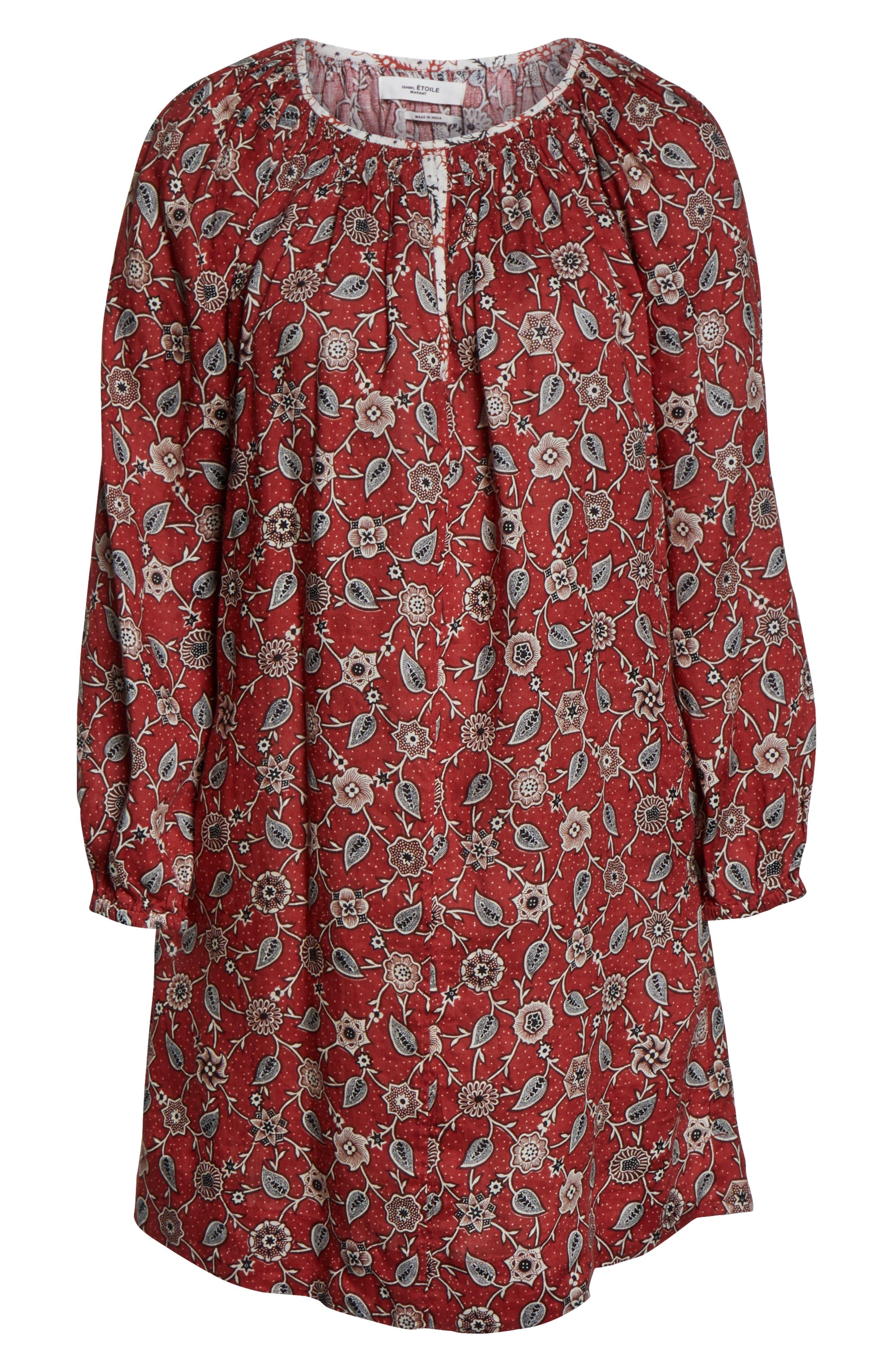 Tockya Print Linen Swing Dress,                             Alternate thumbnail 7, color,                             RUST