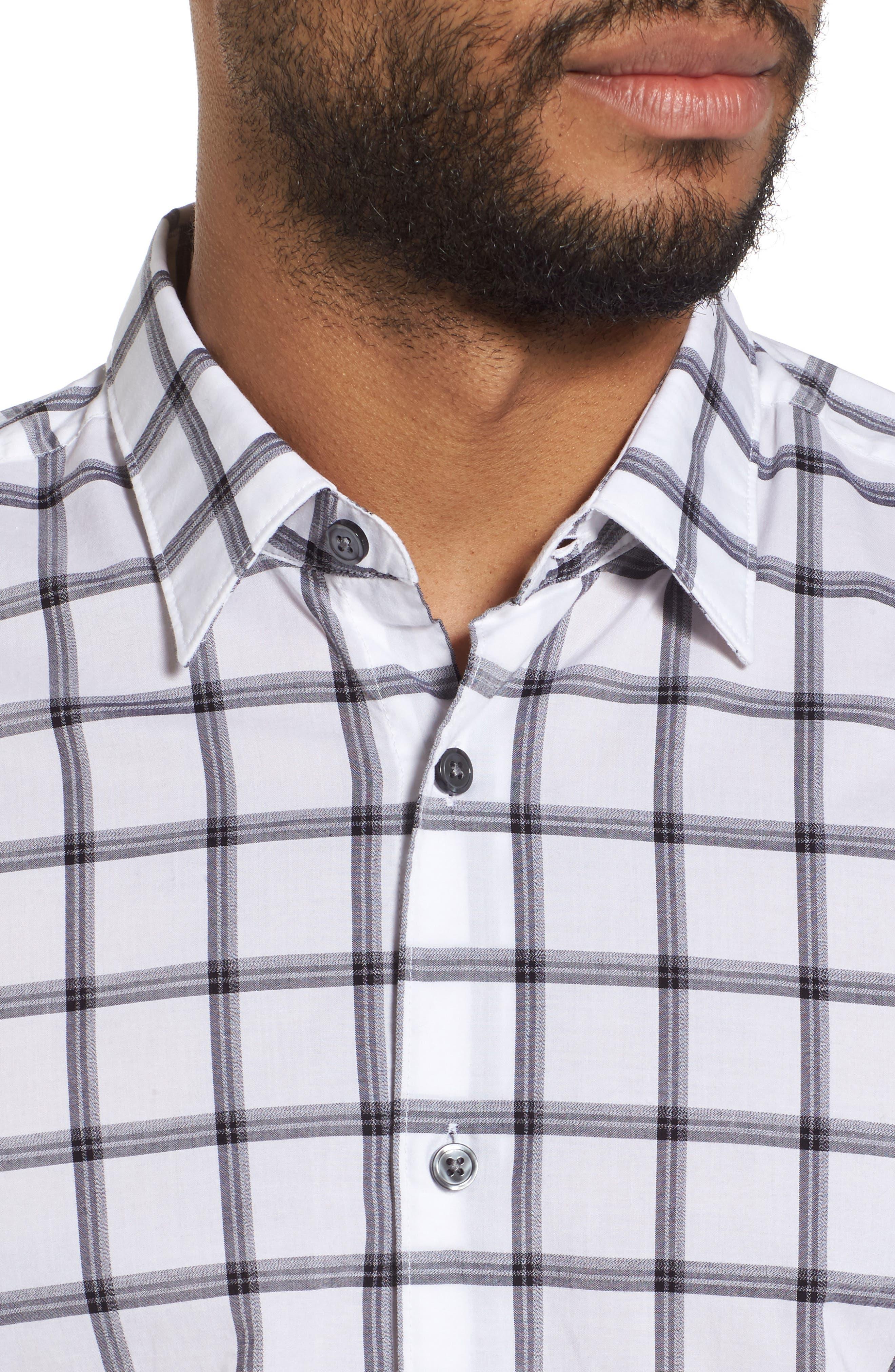 Reid Slim Fit Windowpane Sport Shirt,                             Alternate thumbnail 4, color,                             001