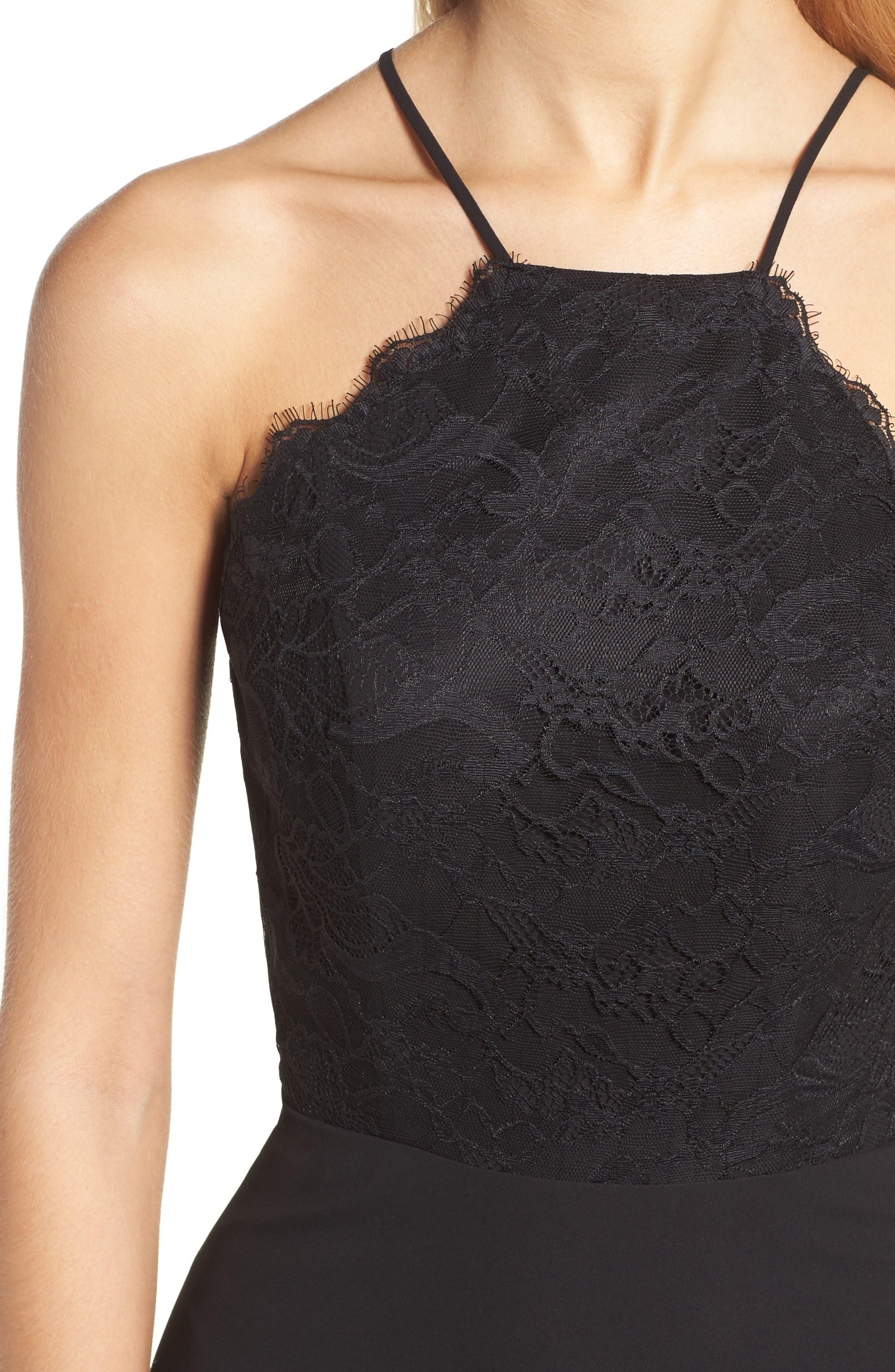 Lace Halter Gown,                             Alternate thumbnail 4, color,                             BLACK