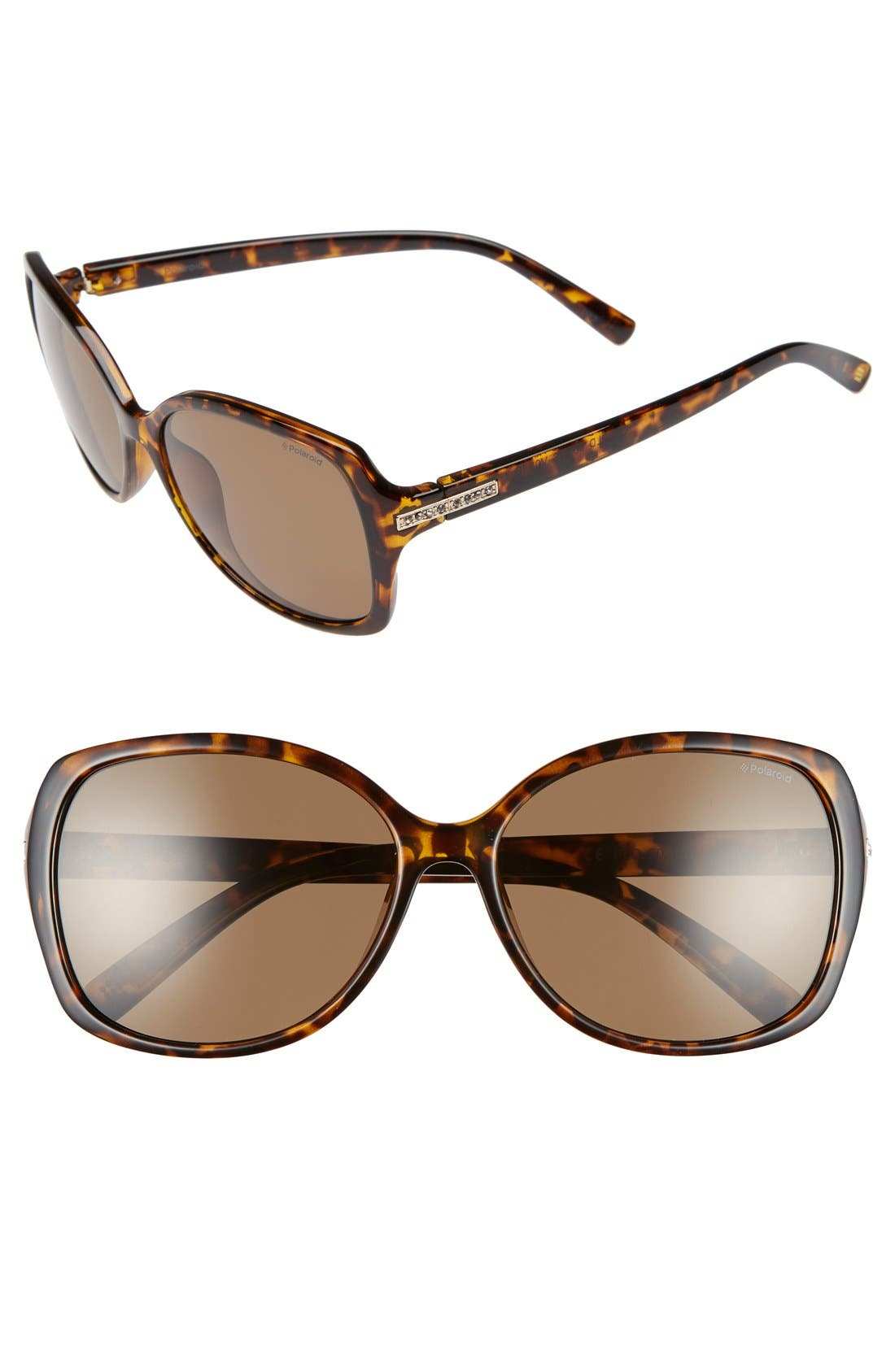 58mm Polarized Sunglasses,                             Main thumbnail 1, color,                             HAVANA/ BROWN POLARIZED