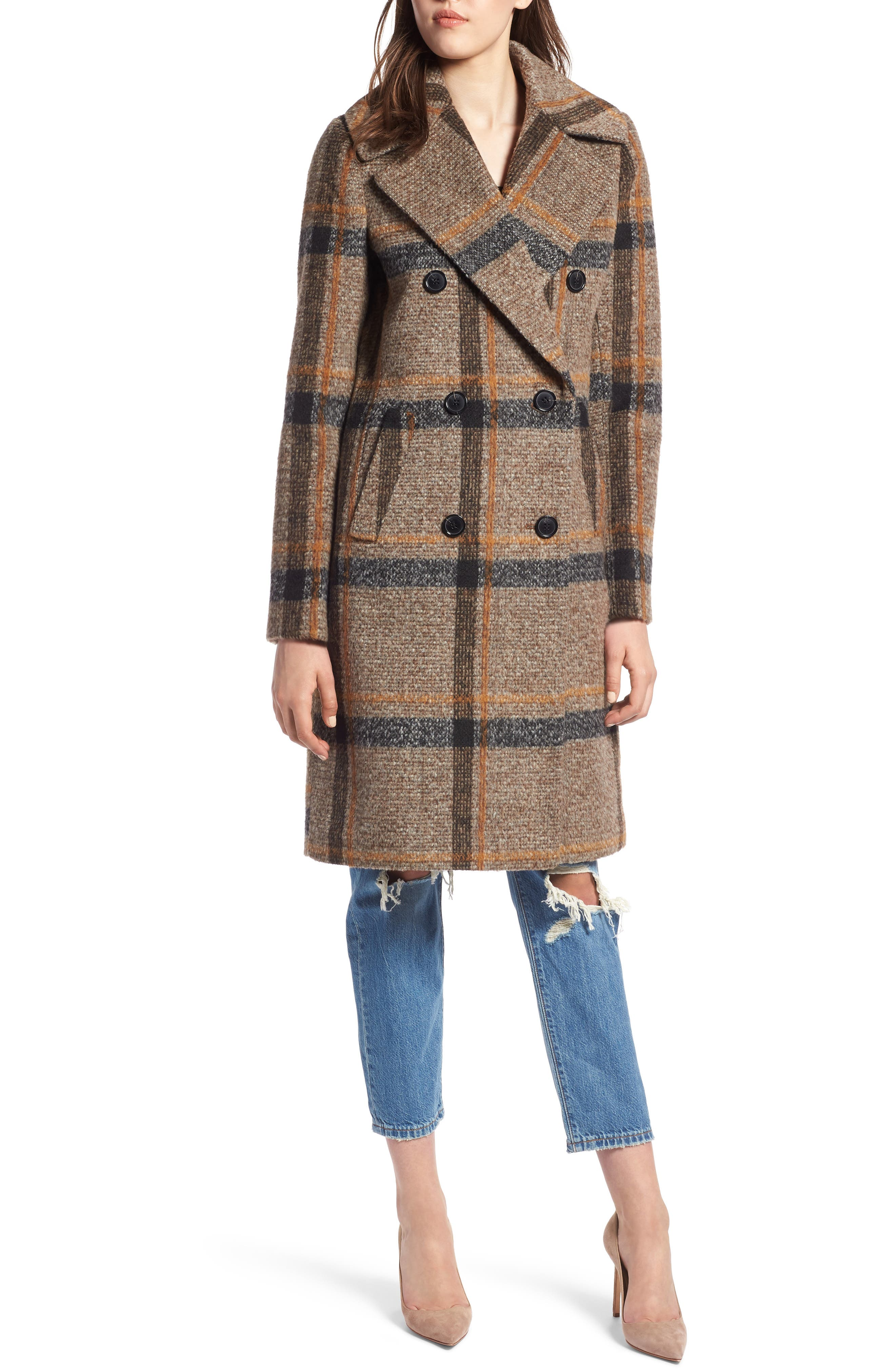 Double Breasted Coat,                             Alternate thumbnail 4, color,                             BROWN PLAID