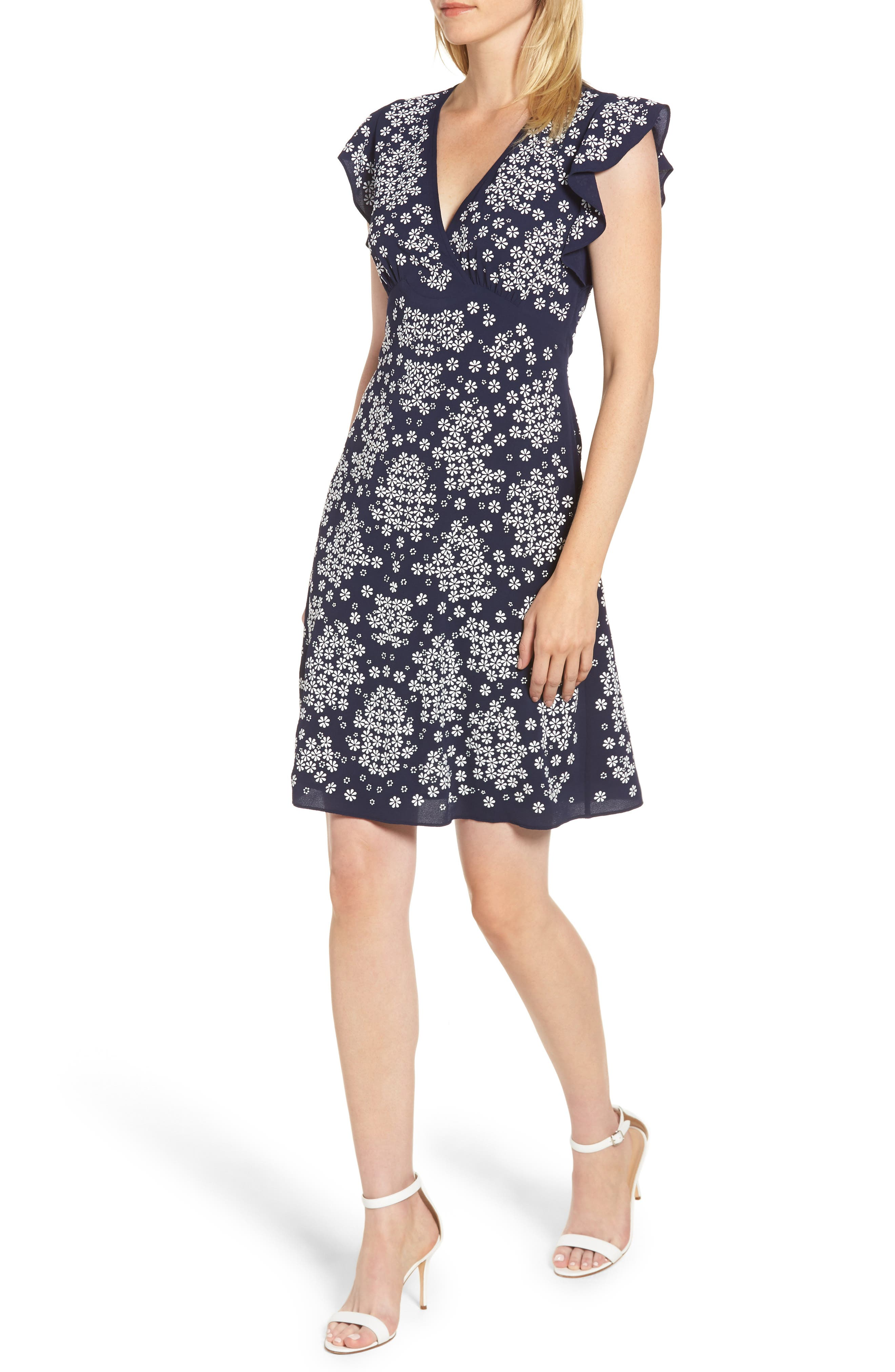 Michael Michael Kors Flower Empire Waist Dress, Blue