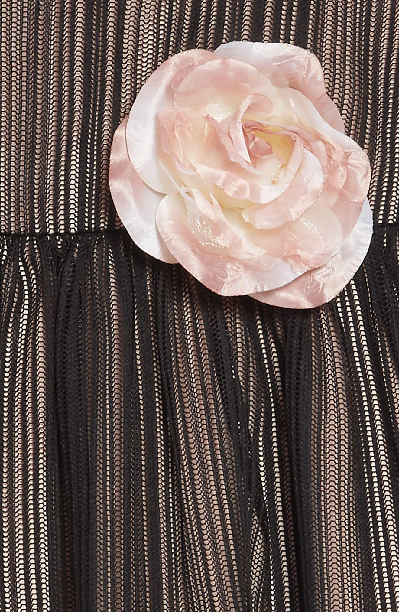 Mesh Overlay Dress,                             Alternate thumbnail 3, color,                             BLACK/ NUDE
