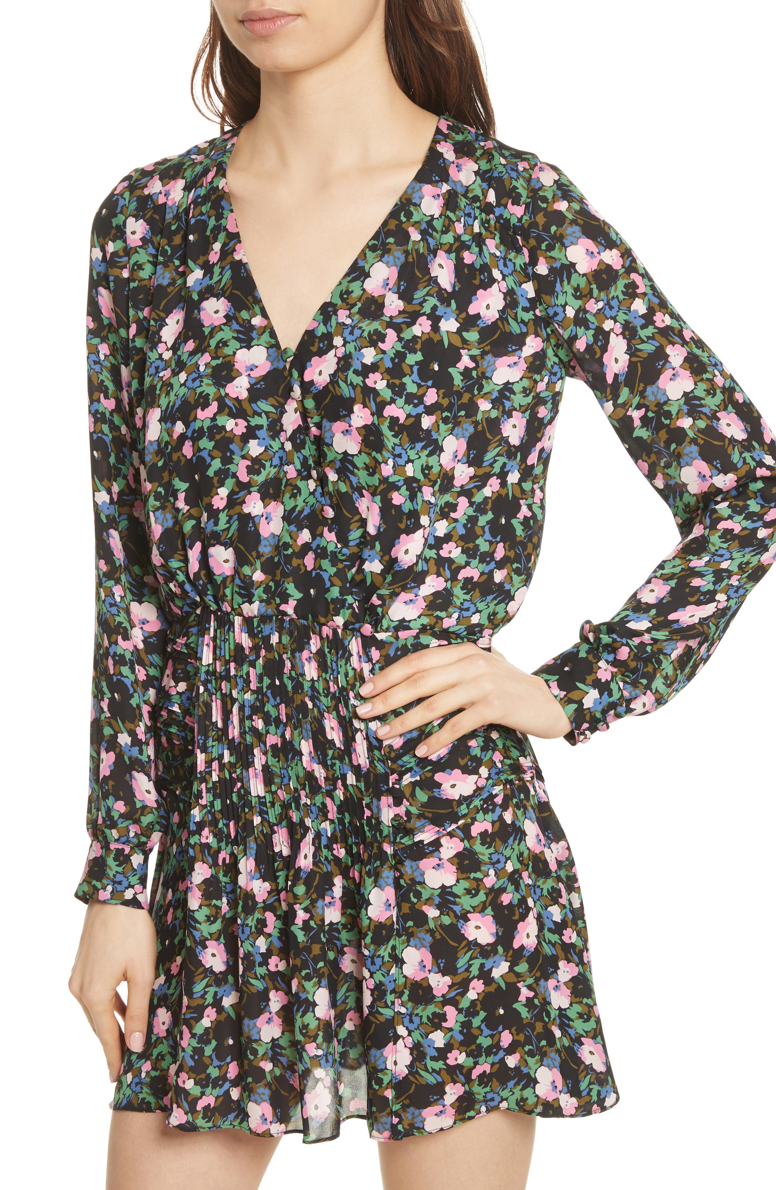 Naomi Floral Print Silk Dress,                             Alternate thumbnail 4, color,