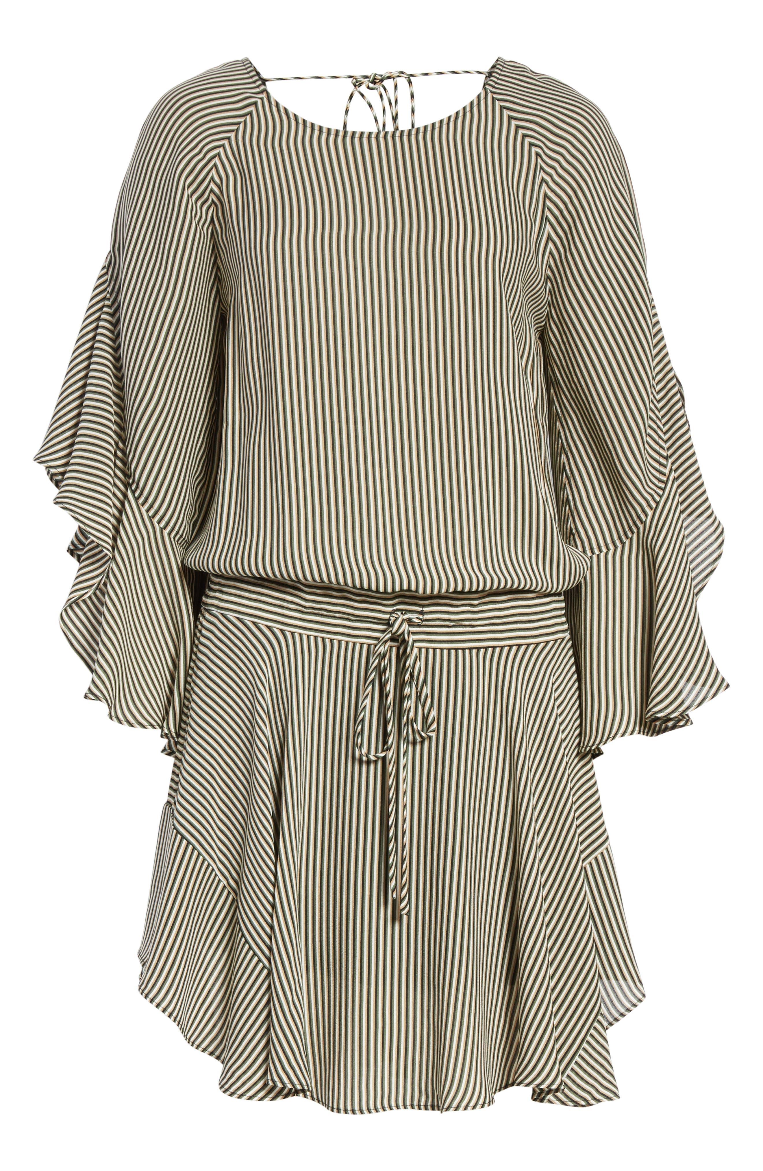 Cannon Stripe Silk Dress,                             Alternate thumbnail 6, color,                             101
