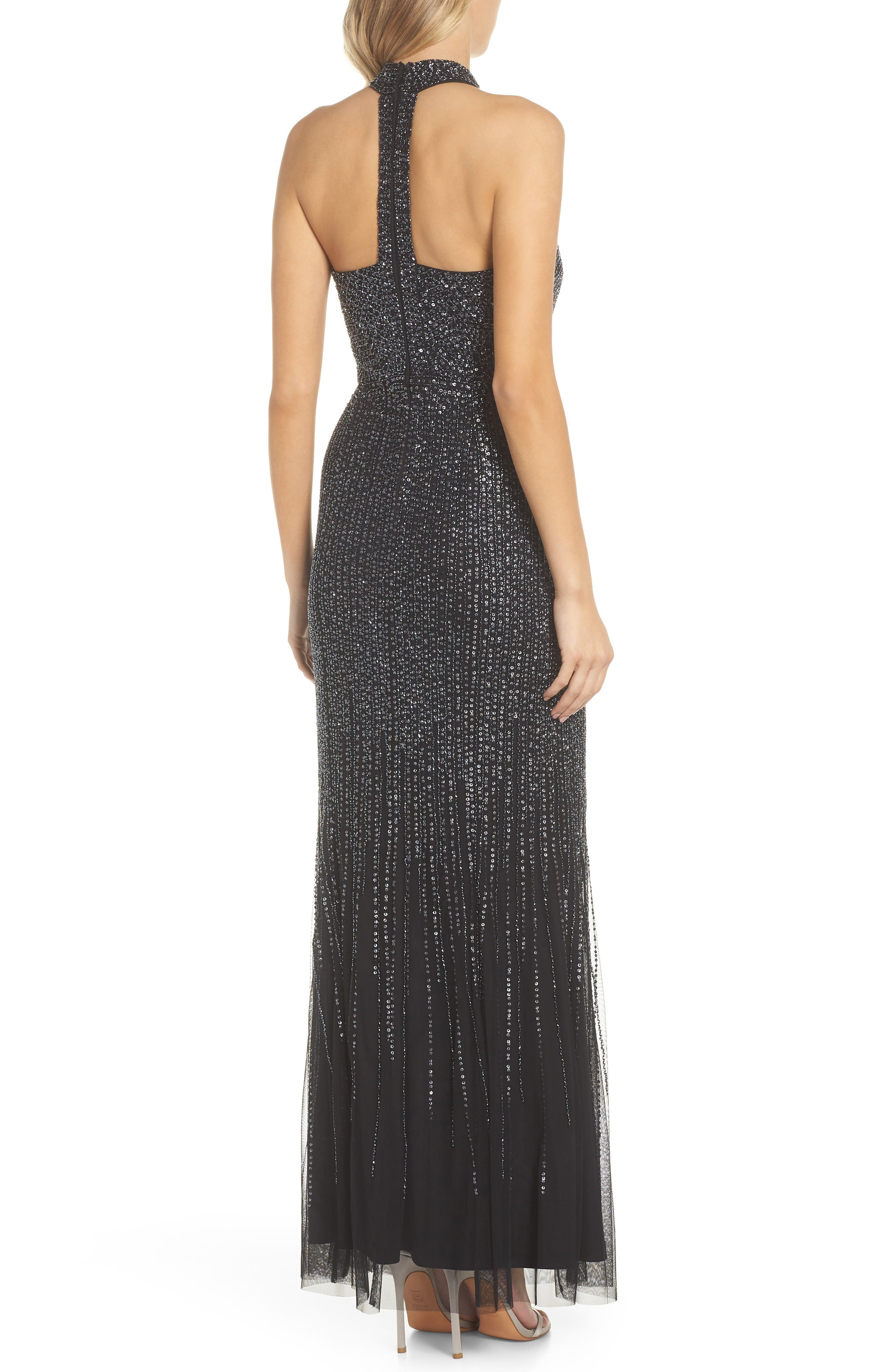 ADRIANNA PAPELL,                             Beaded Halter Gown,                             Alternate thumbnail 2, color,                             001