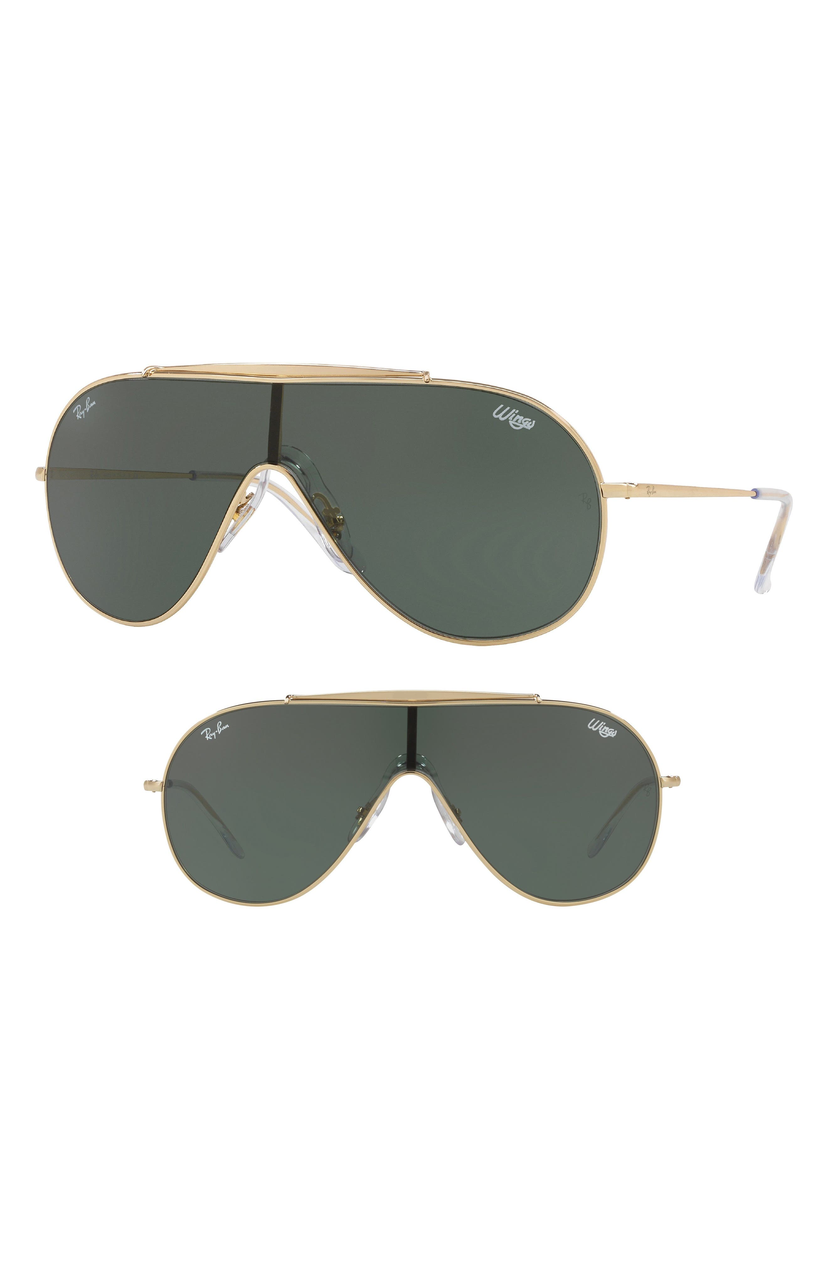 133mm Shield Sunglasses,                             Main thumbnail 1, color,                             GOLD SOLID