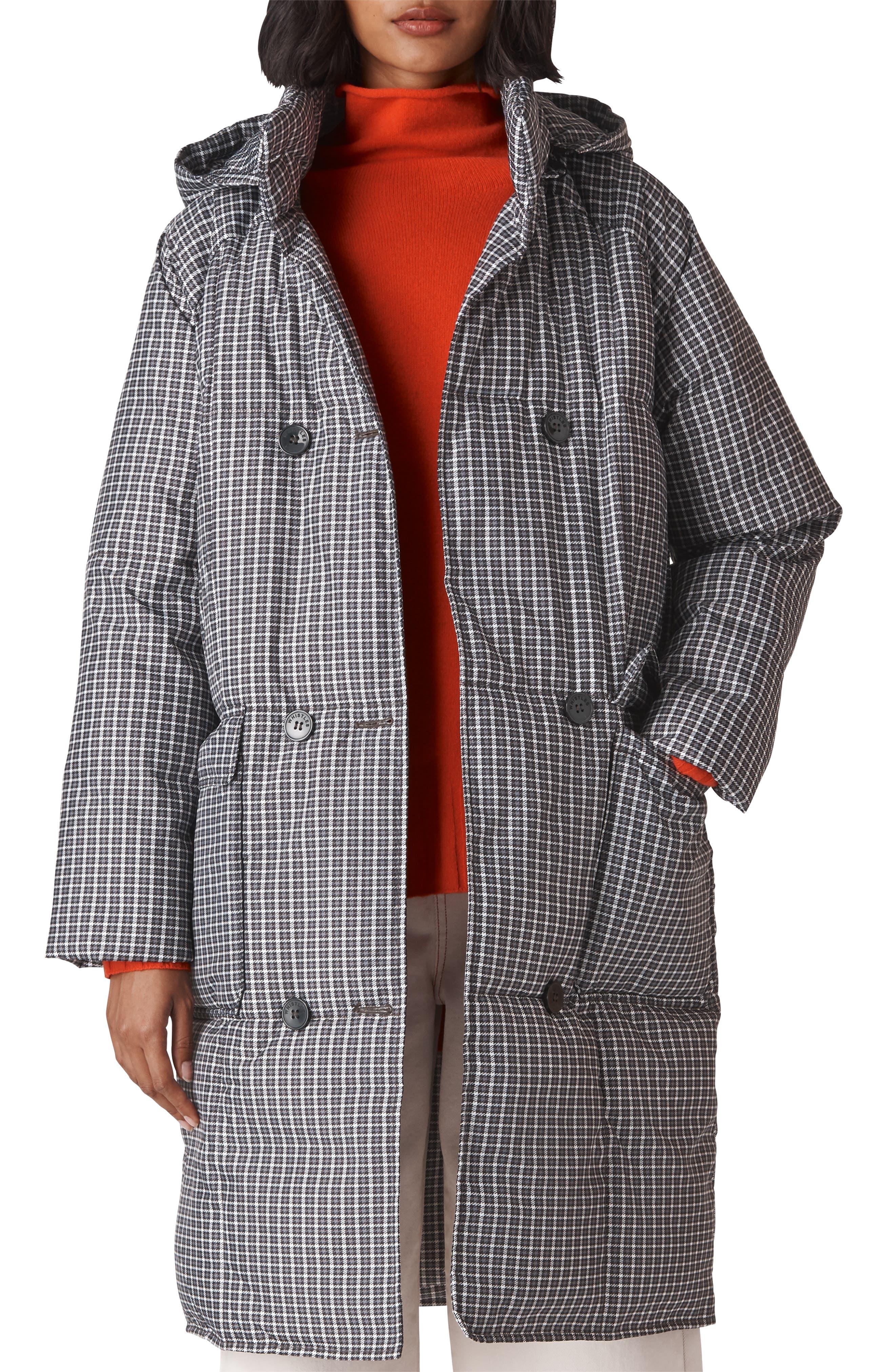 WHISTLES,                             Check Longline Puffer Coat,                             Main thumbnail 1, color,                             001