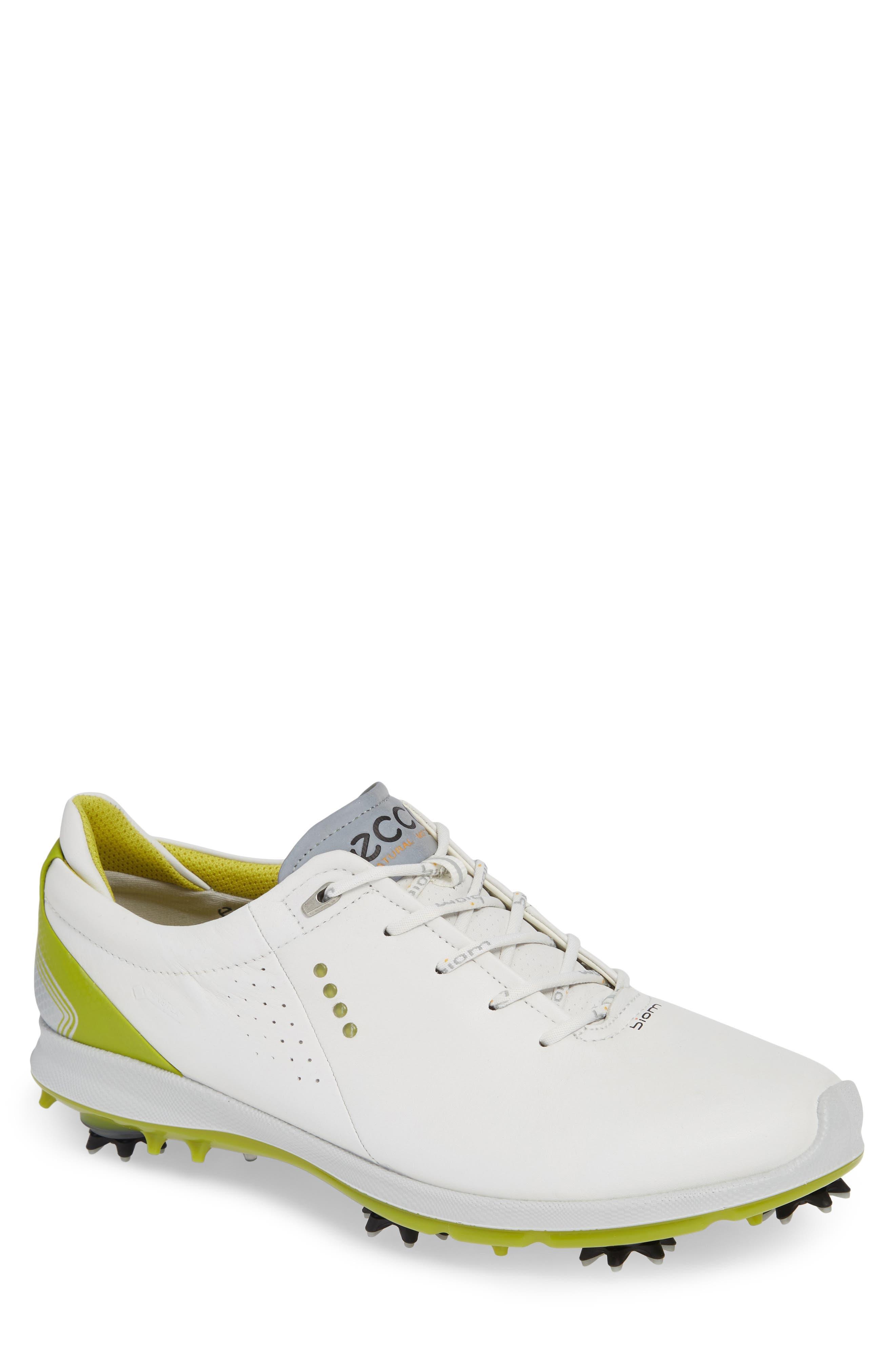 BIOM G 2 Free Gore-Tex<sup>®</sup> Golf Shoe,                         Main,                         color, WHITE/ KIWI LEATHER