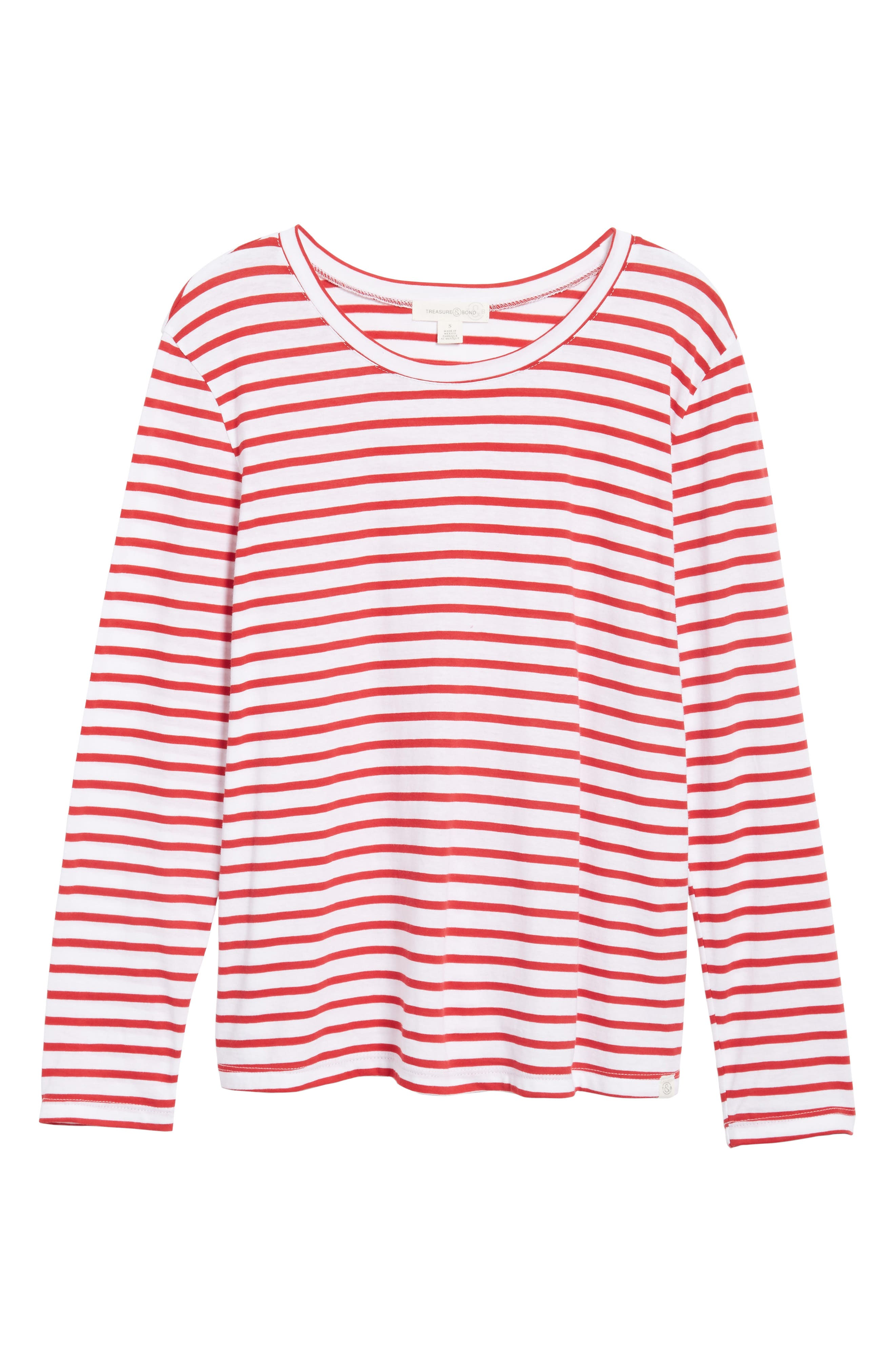 Varsity Stripe Cotton Tee,                             Alternate thumbnail 109, color,