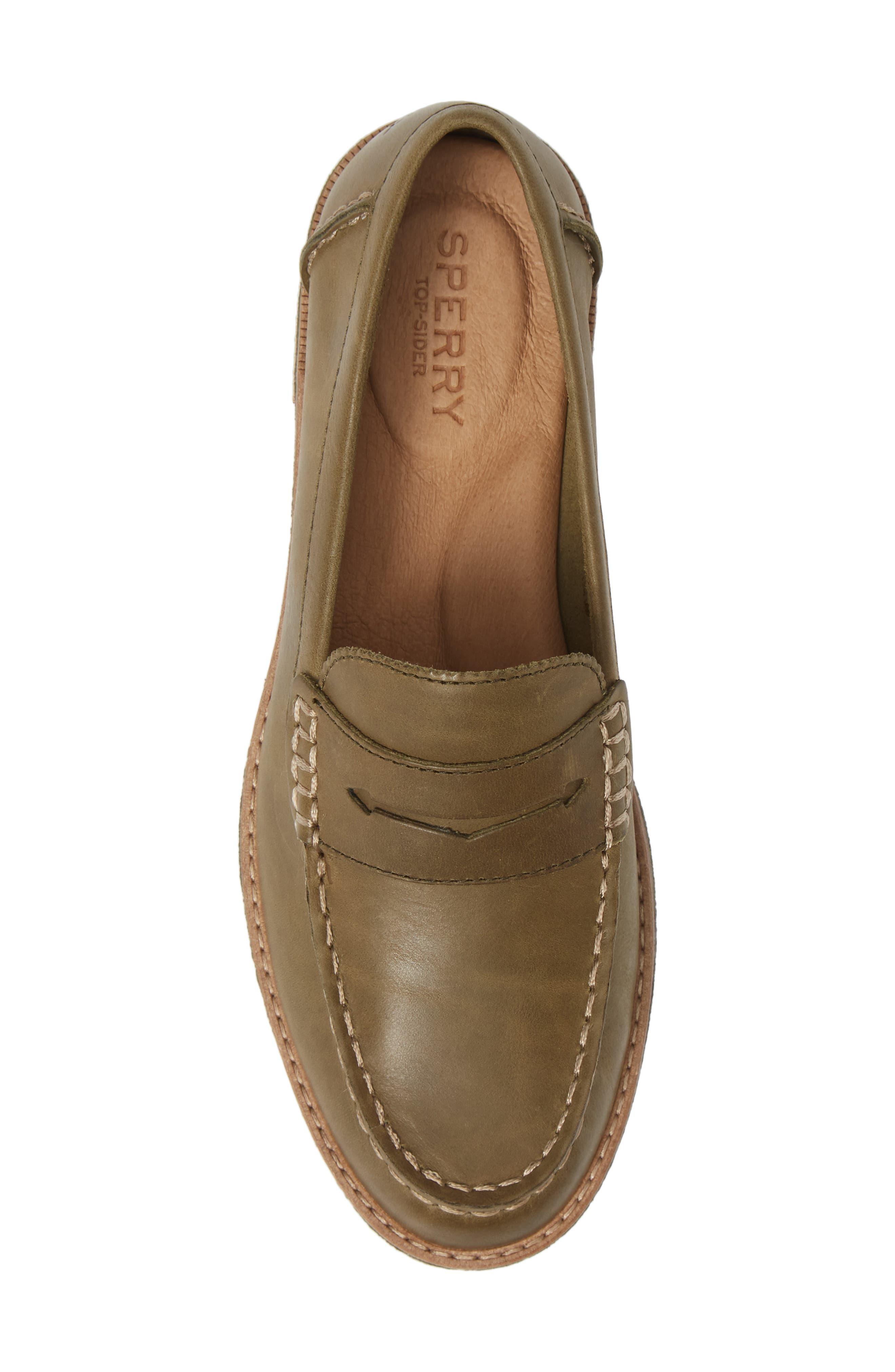 Seaport Penny Loafer,                             Alternate thumbnail 5, color,                             OLIVE LEATHER