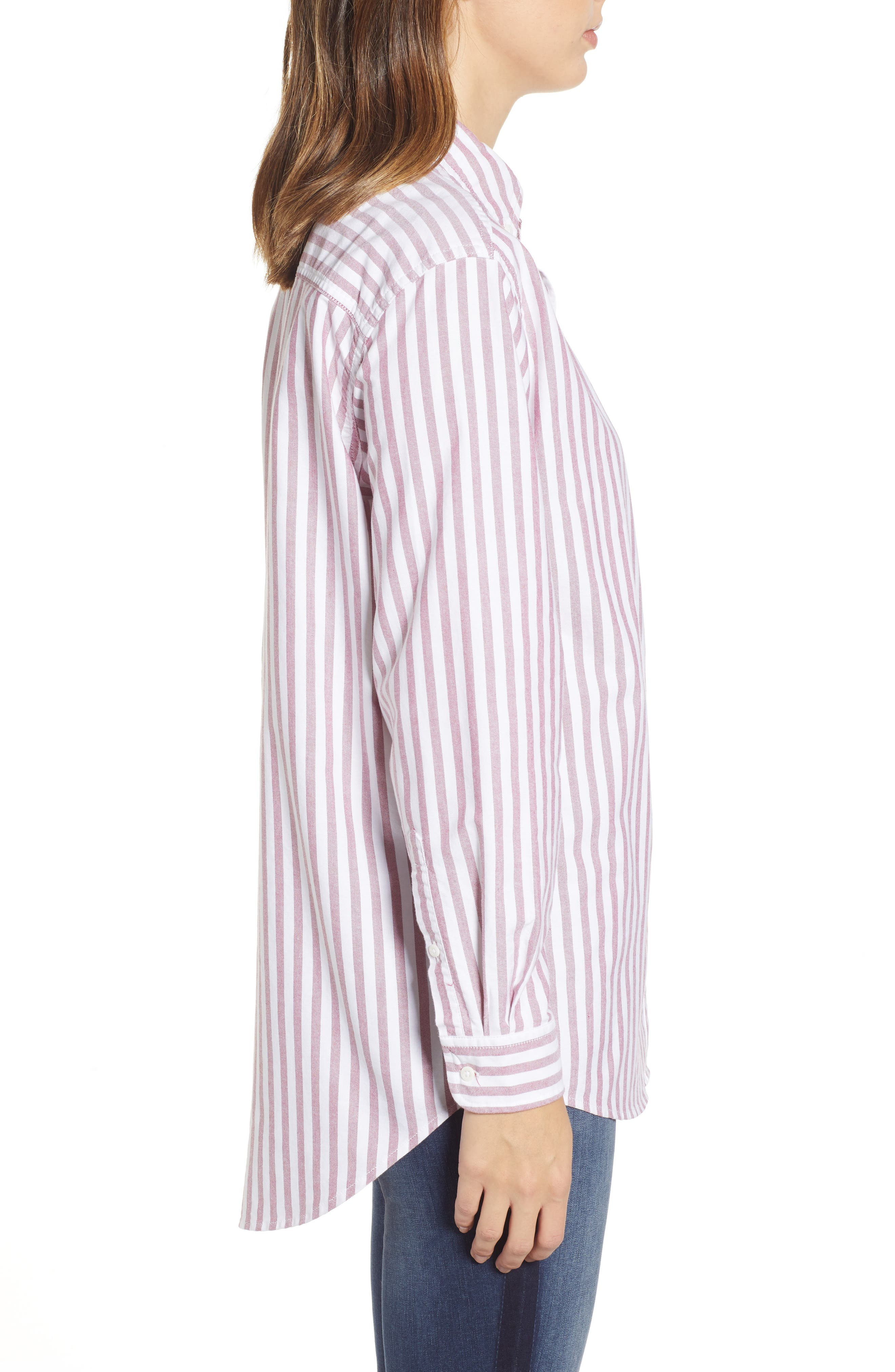 TJW Classics Stripe Shirt,                             Alternate thumbnail 3, color,                             RUMBA RED / BRIGHT WHITE