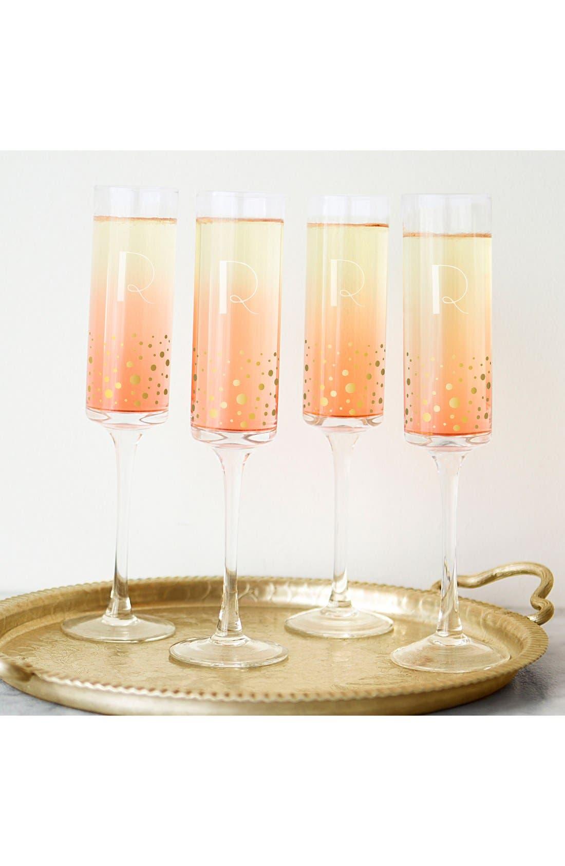 Gold Dot Monogram Champagne Flutes,                             Alternate thumbnail 4, color,                             710