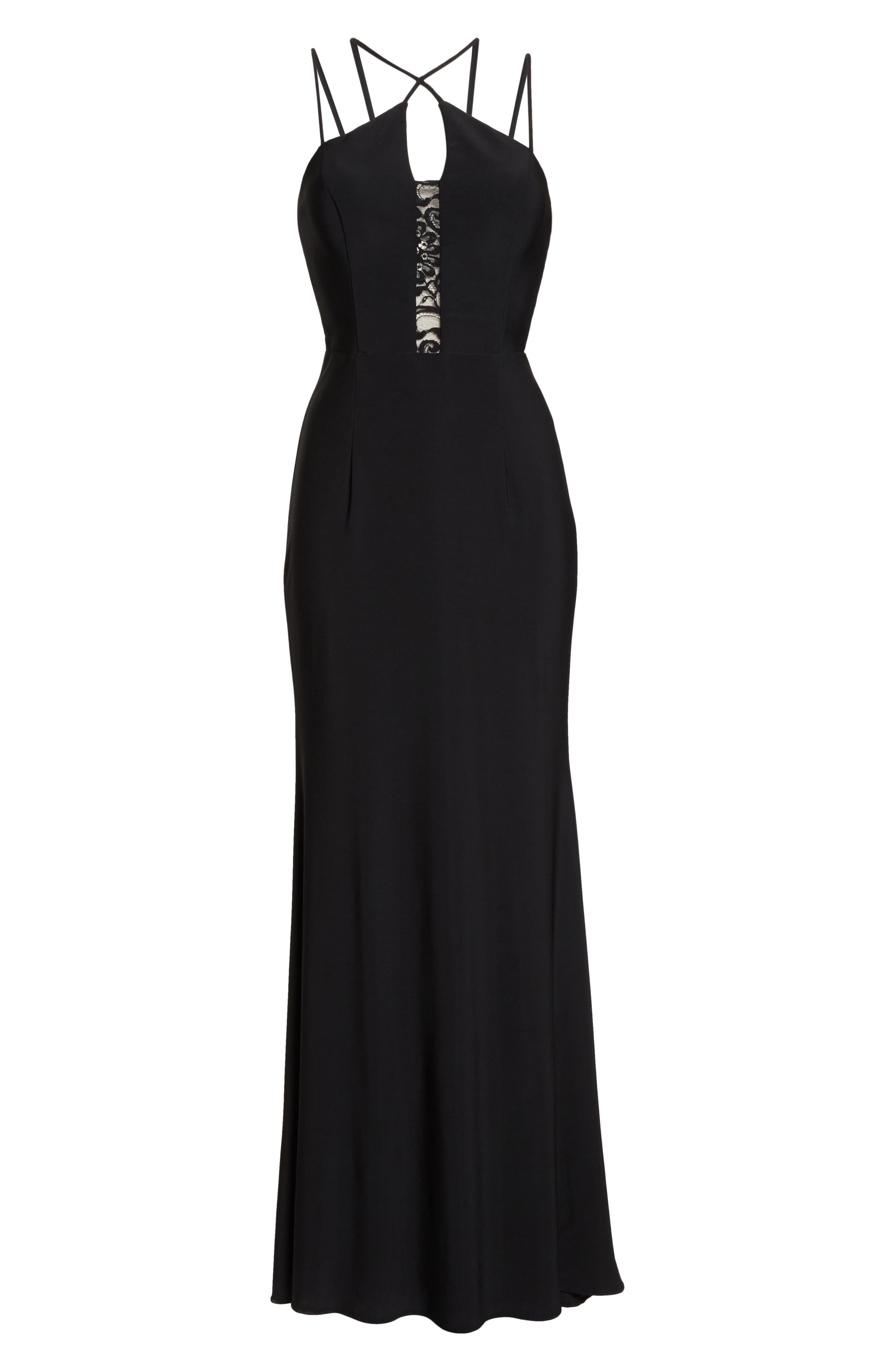 Strappy Lace Inset Trumpet Gown,                             Alternate thumbnail 7, color,                             BLACK