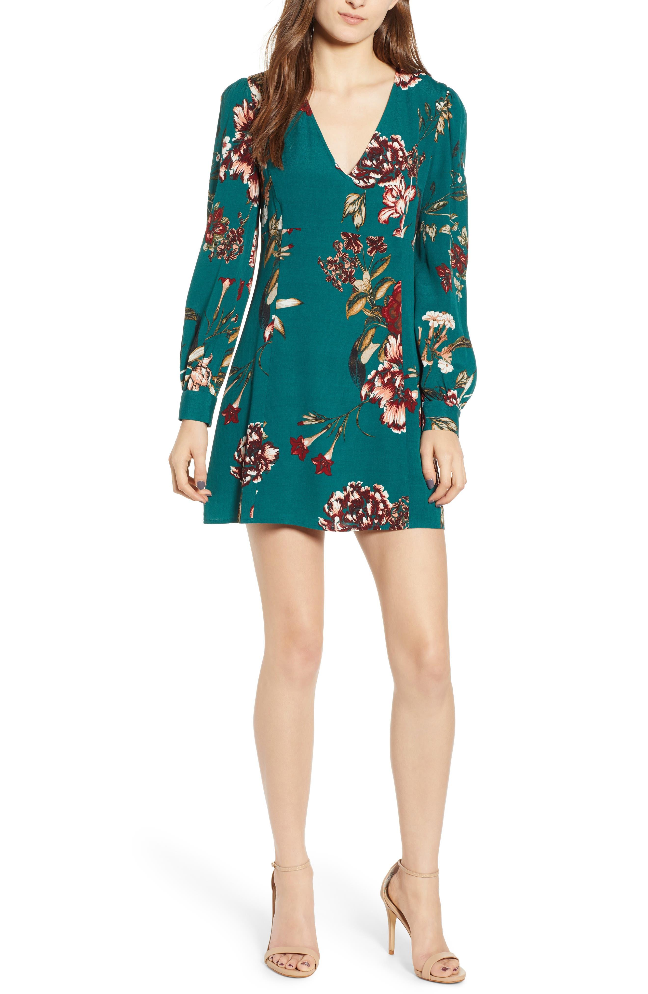 Leith V-Neck Floral Print Minidress, Green