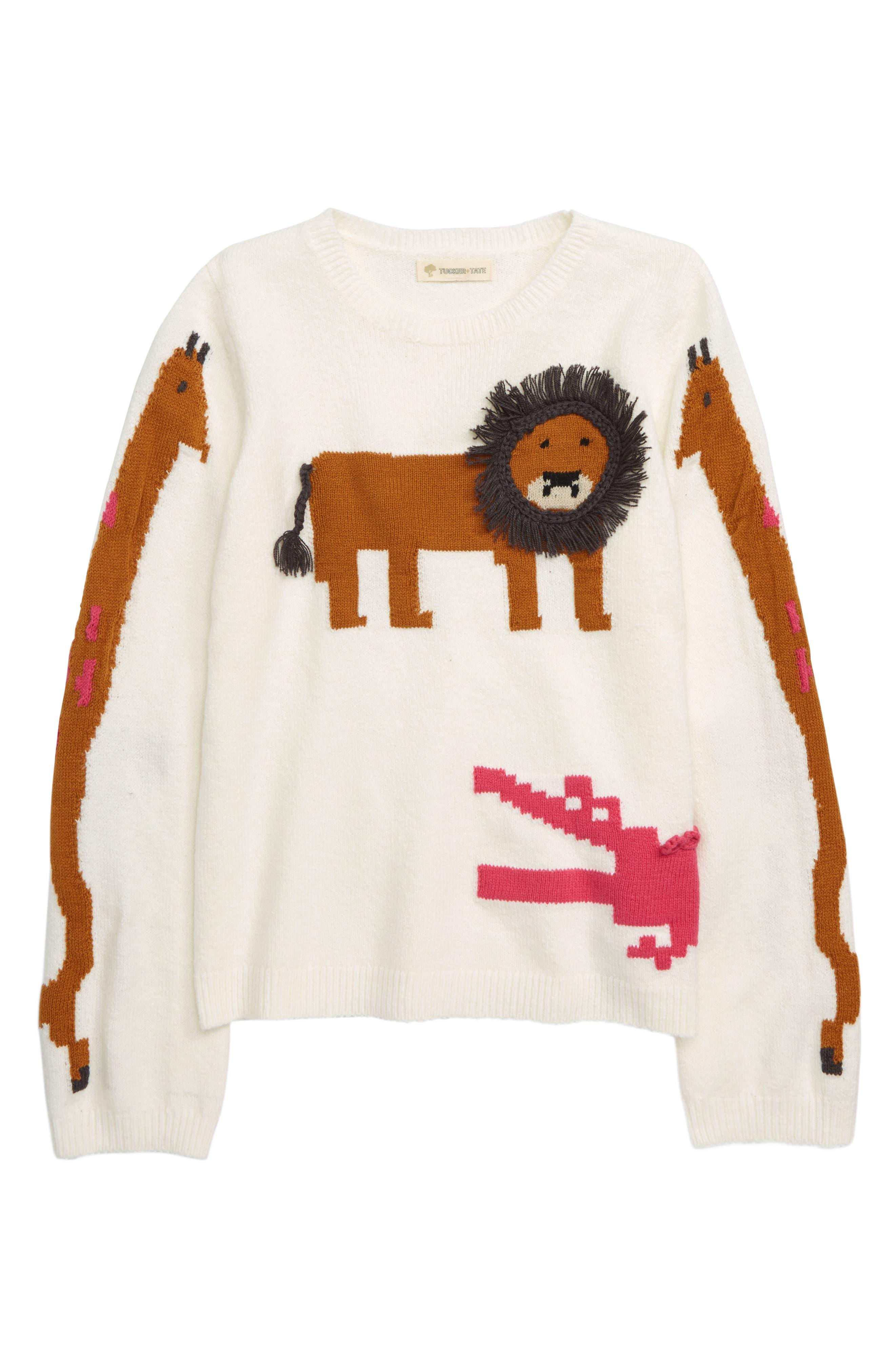 Zoo Animal Sweater,                             Main thumbnail 1, color,                             IVORY EGRET ZOO ANIMALS