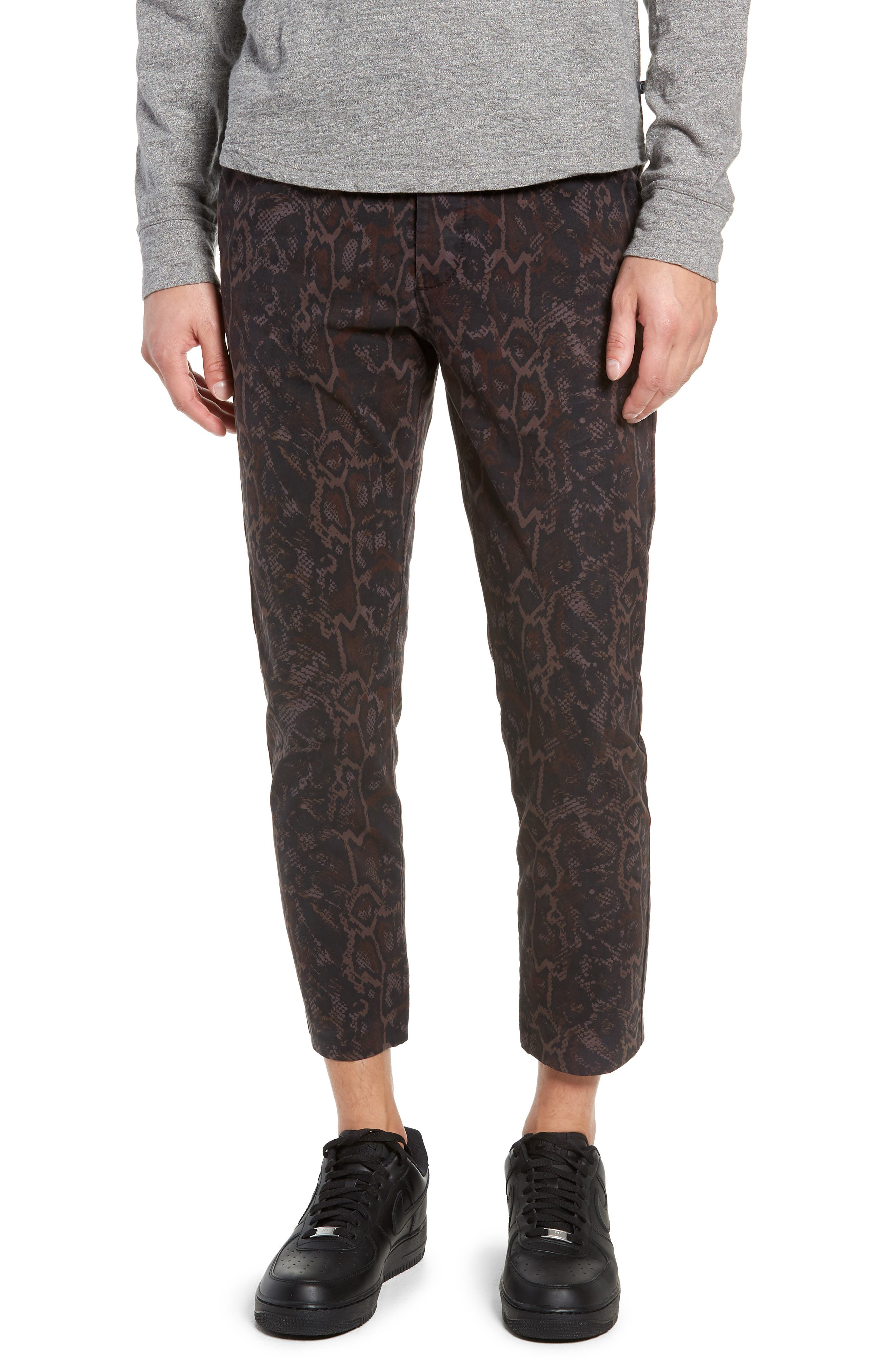 Tapered Fit Snakeskin Print Pants,                         Main,                         color, GOLD MULTI