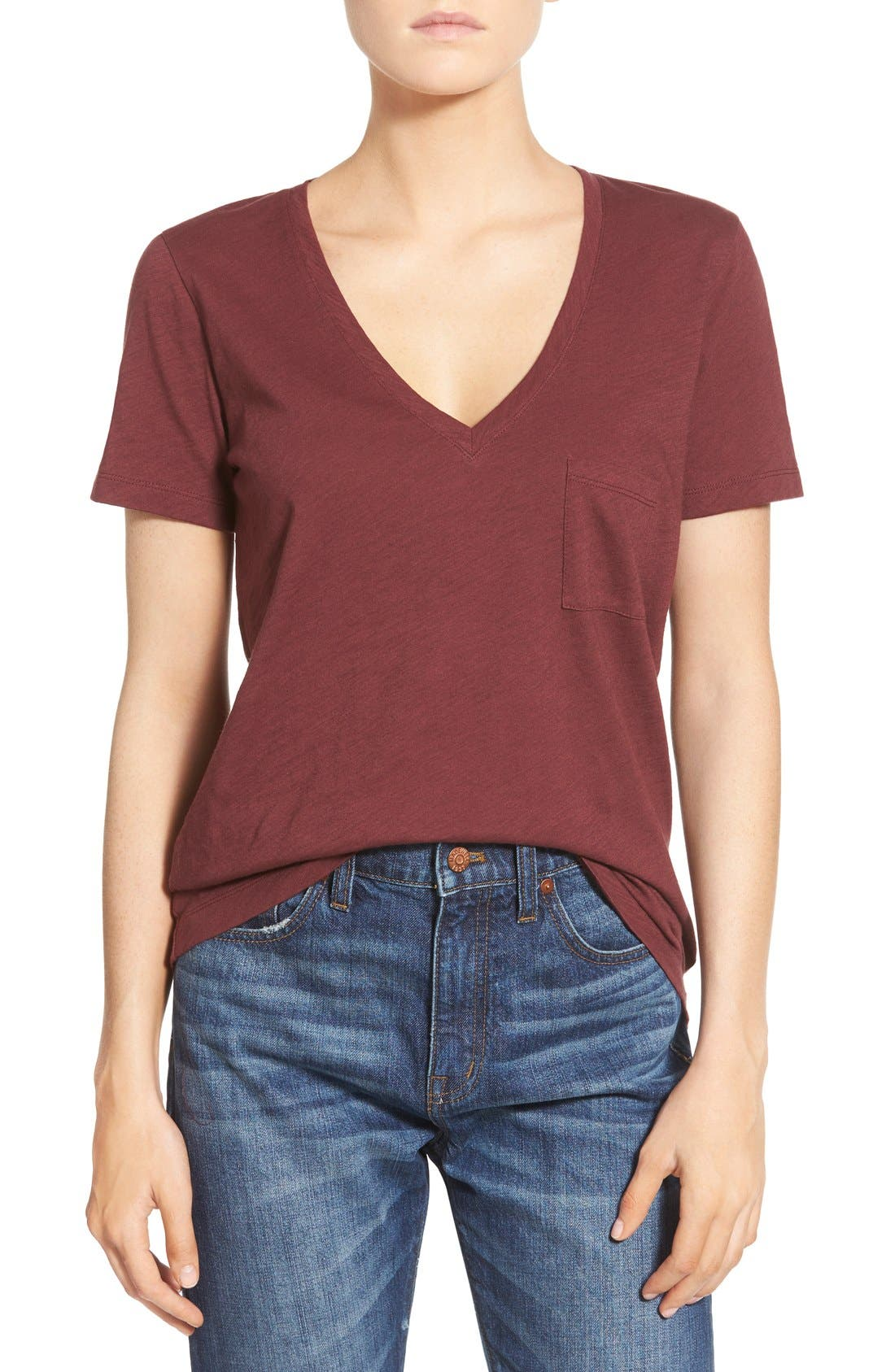 Whisper Cotton V-Neck Pocket Tee,                             Main thumbnail 43, color,