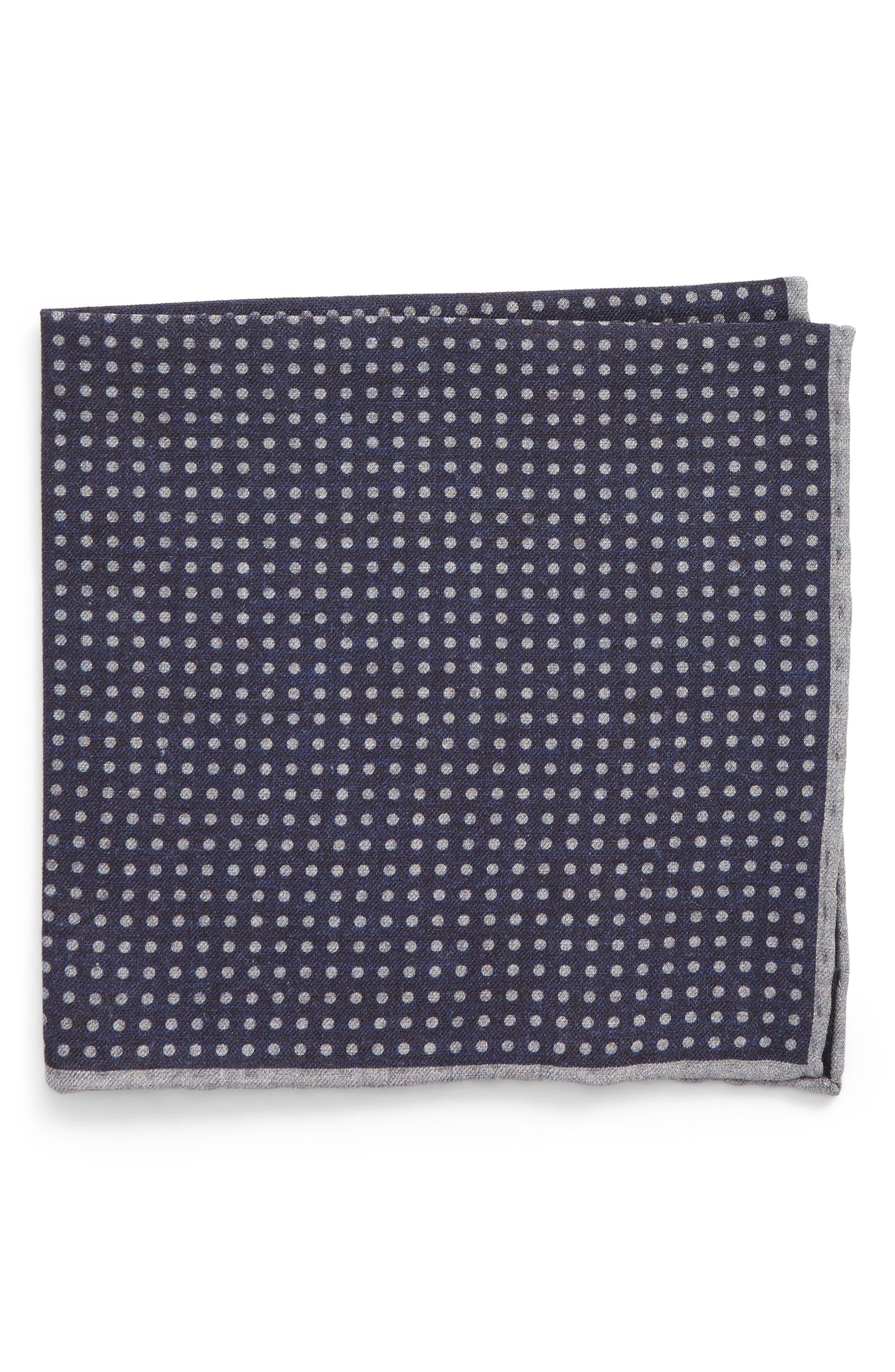 Dot Wool & Cotton Pocket Square,                             Main thumbnail 1, color,                             NAVY