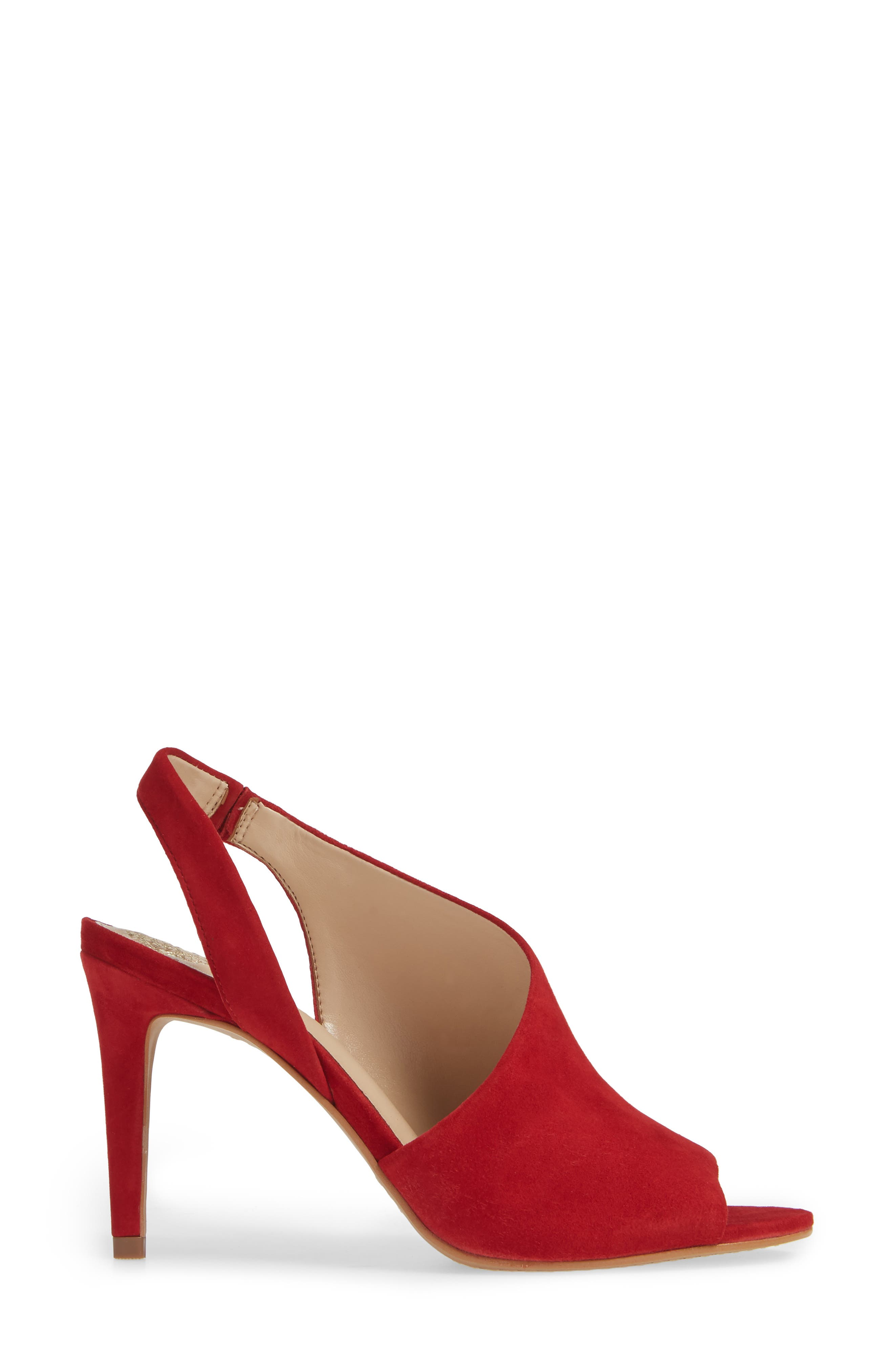 Crasantha Sandal,                             Alternate thumbnail 3, color,                             CHERRY RED SUEDE