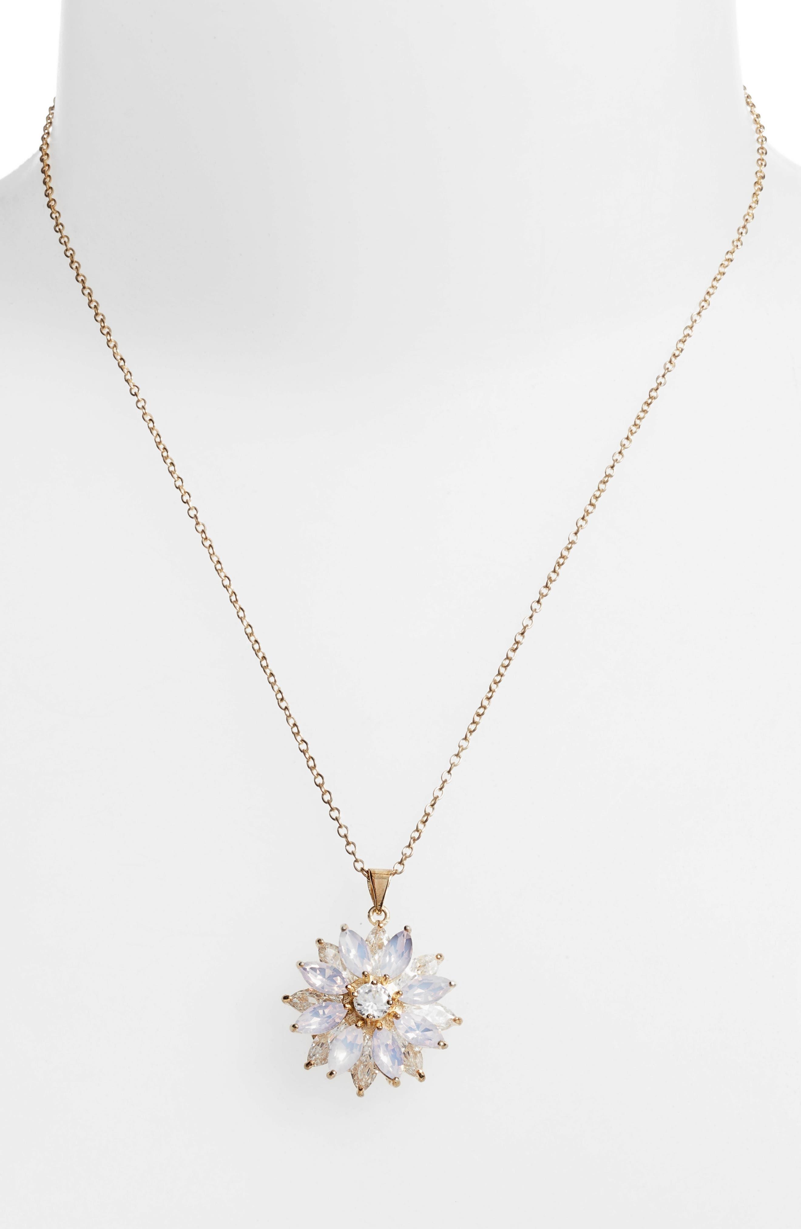 Layer Floral Pendant Necklace,                             Alternate thumbnail 2, color,                             PINK OPAL/ GOLD
