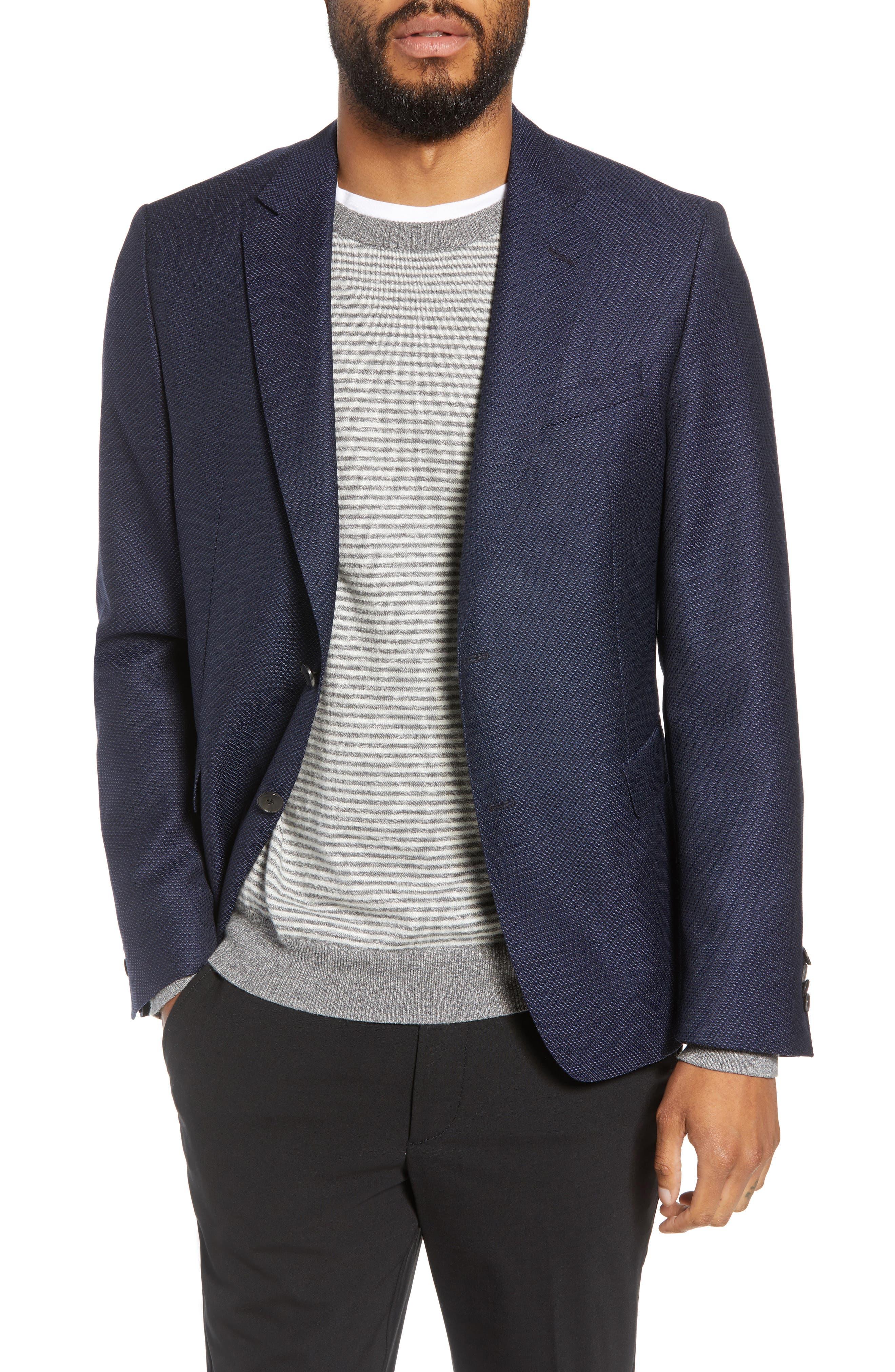 Nobis Trim Fit Wool Blazer,                         Main,                         color, NAVY