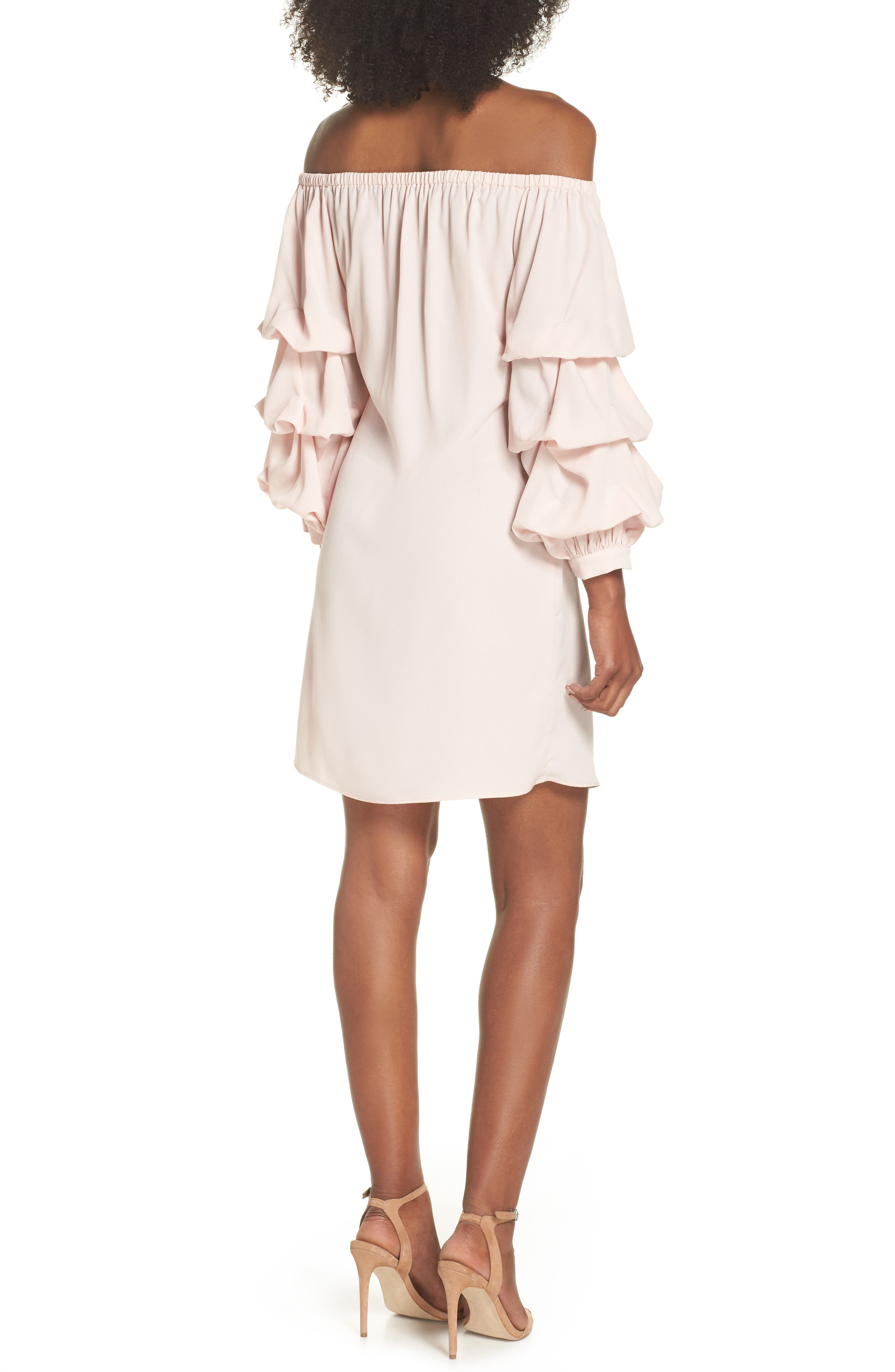 Off the Shoulder Tiered Sleeve Dress,                             Alternate thumbnail 6, color,