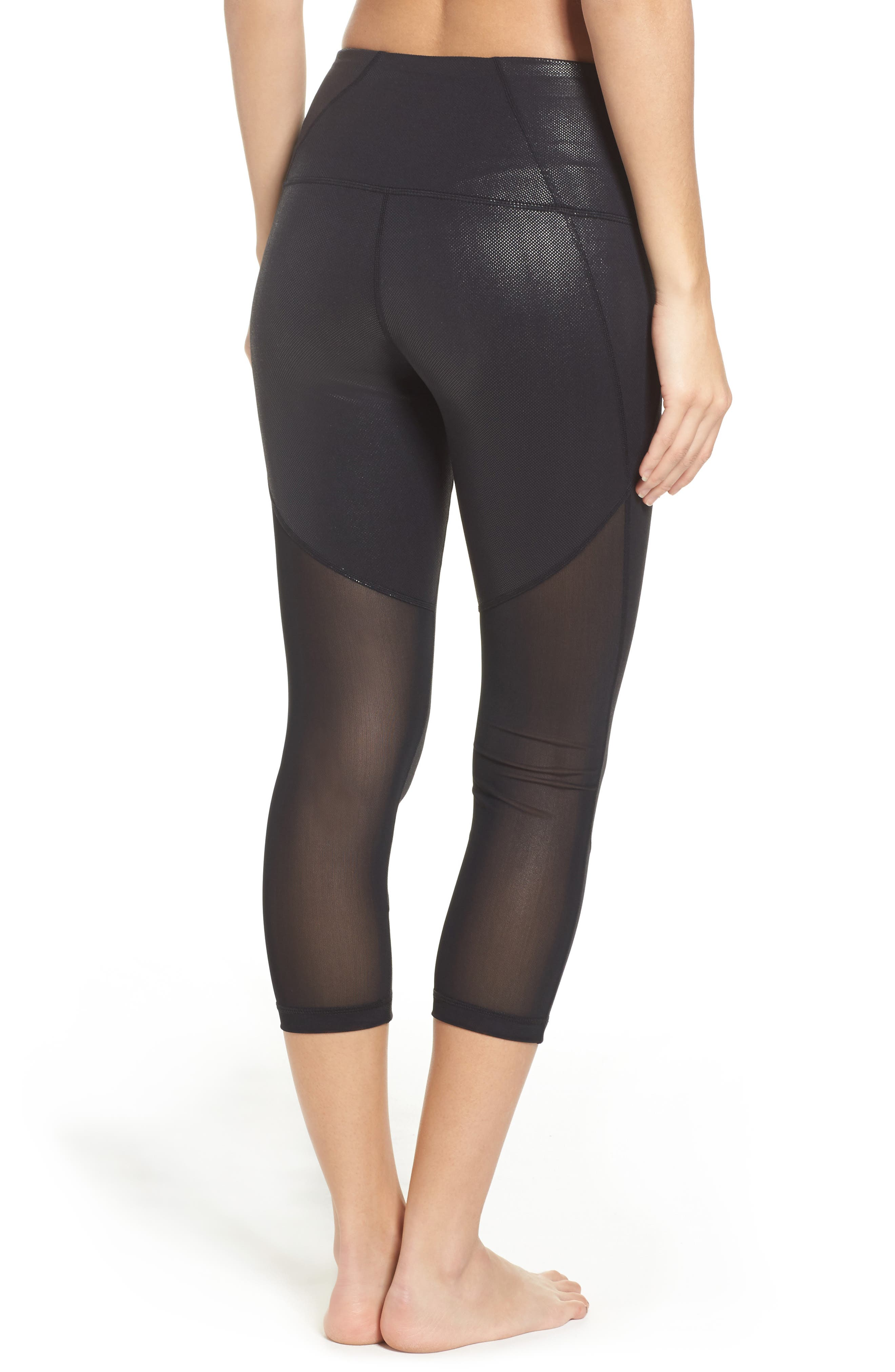 'Live In - Sultry' High Waist Mesh Crop Leggings,                             Alternate thumbnail 17, color,