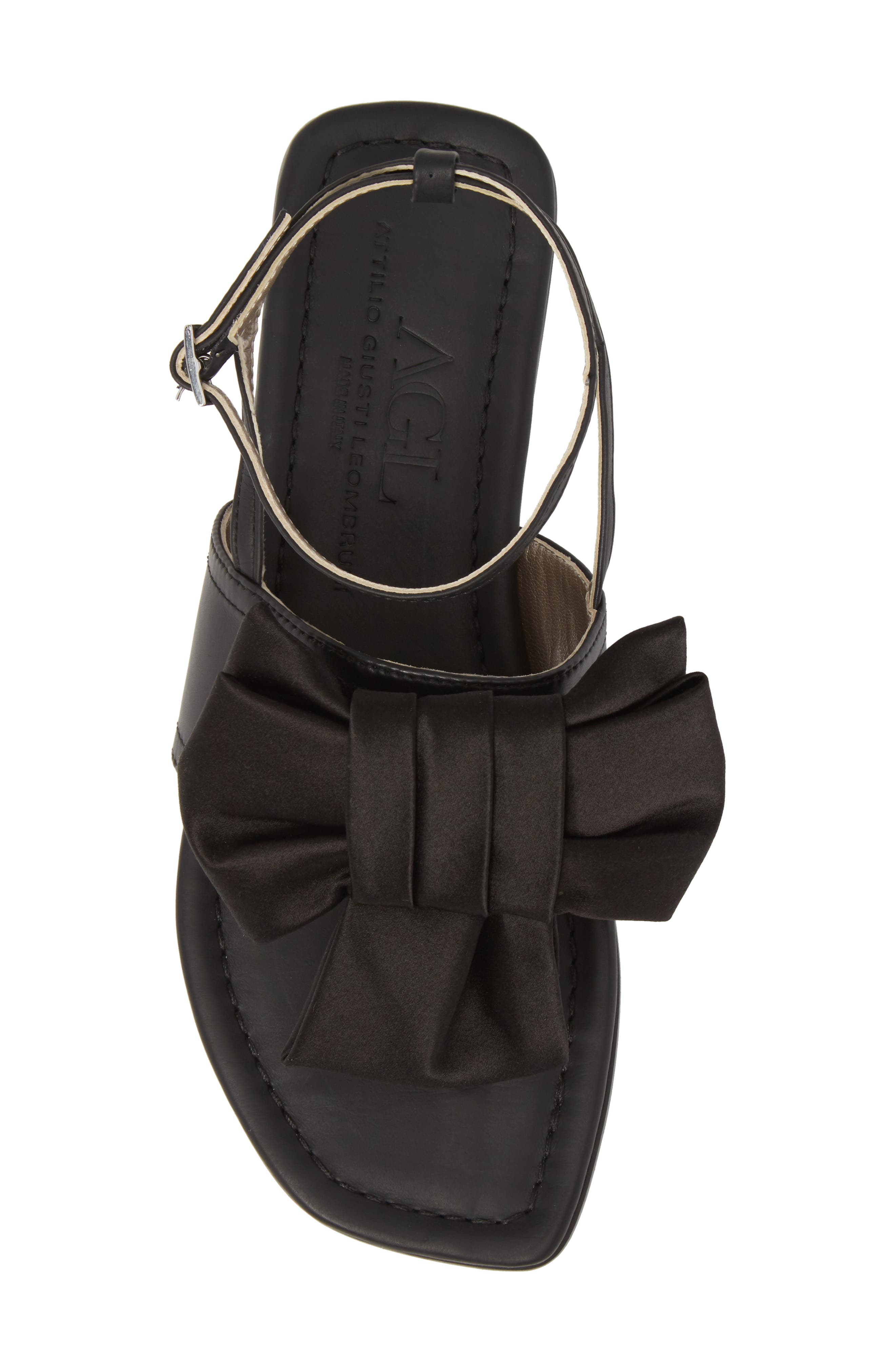 Ankle Strap Sandal,                             Alternate thumbnail 5, color,                             BLACK LEATHER