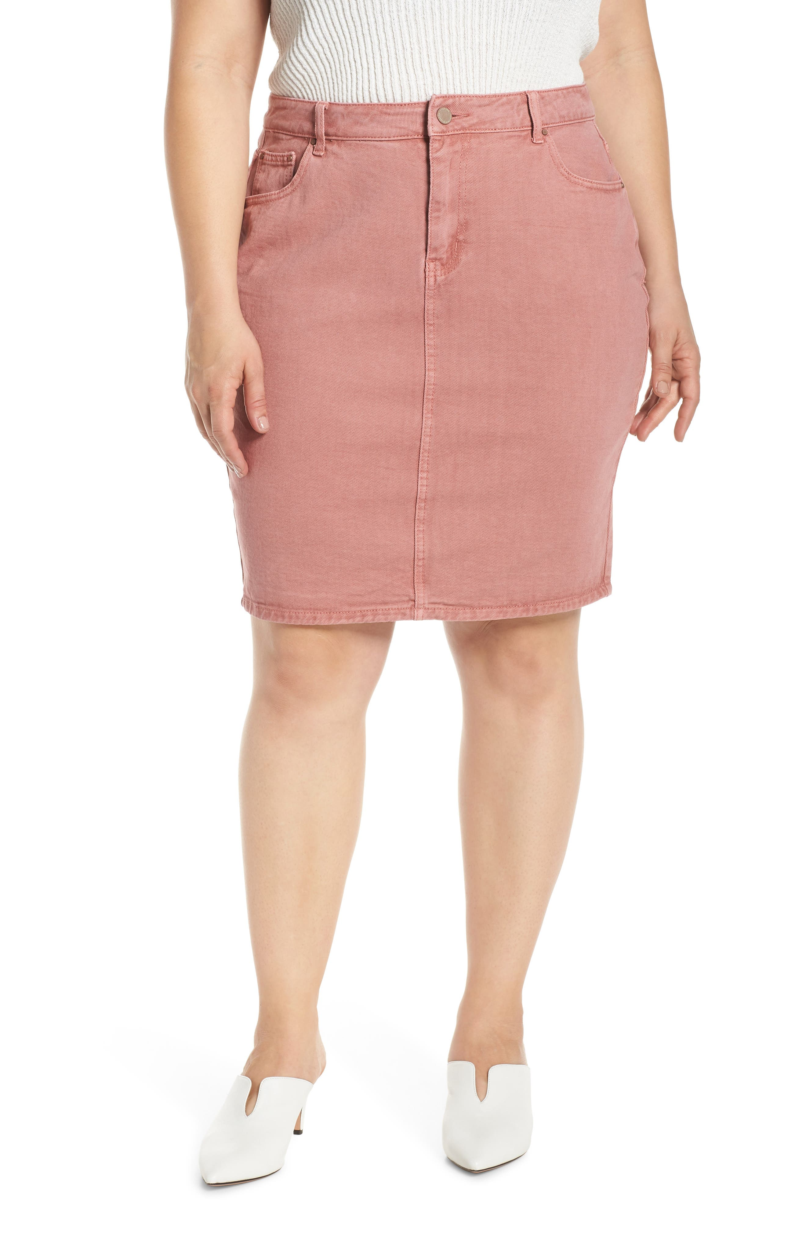 Plus Size Lost Ink Pencil Skirt, Pink
