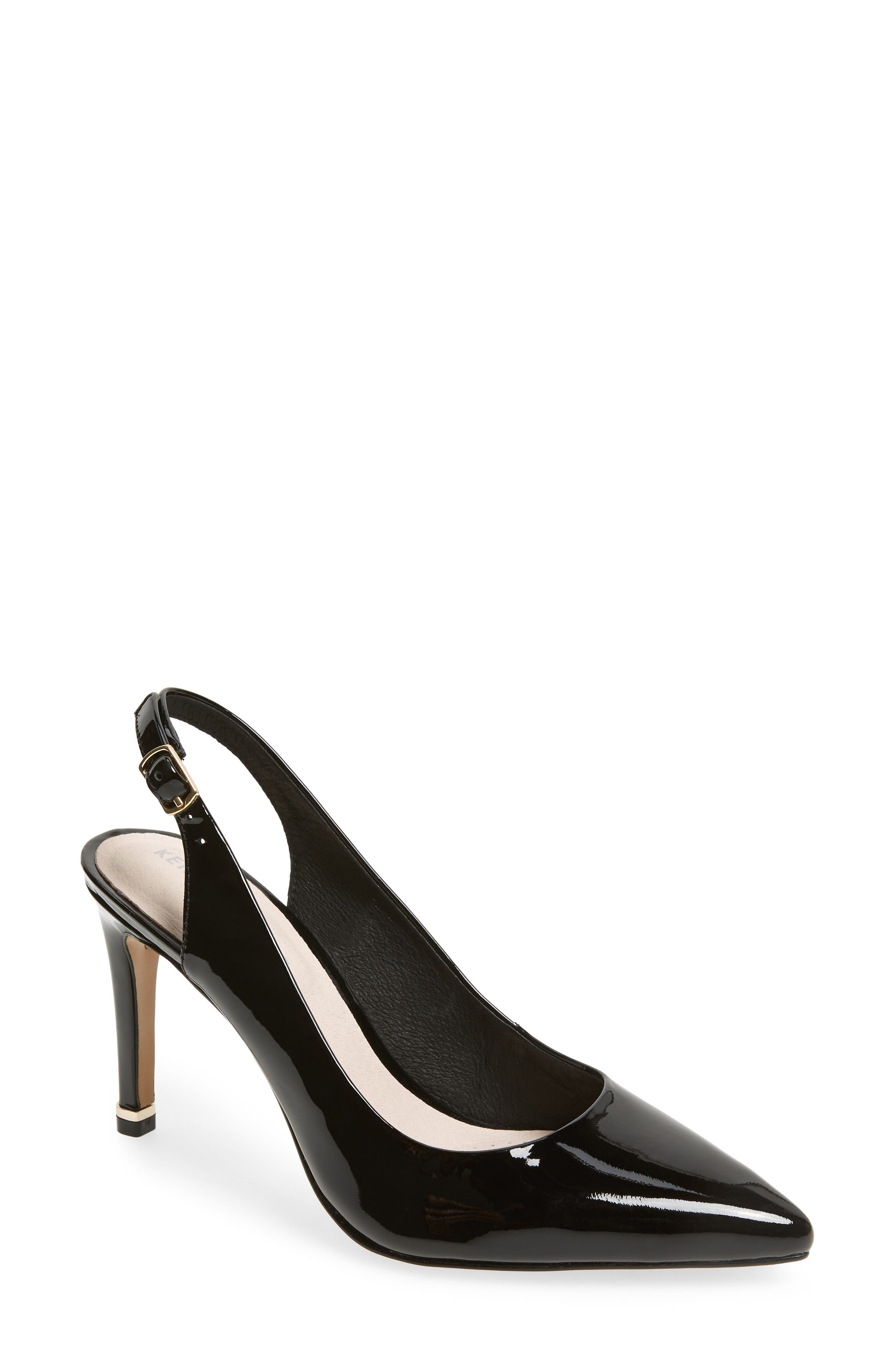 KENNETH COLE NEW YORK,                             Riley 85 Slingback Pump,                             Main thumbnail 1, color,                             BLACK PATENT LEATHER