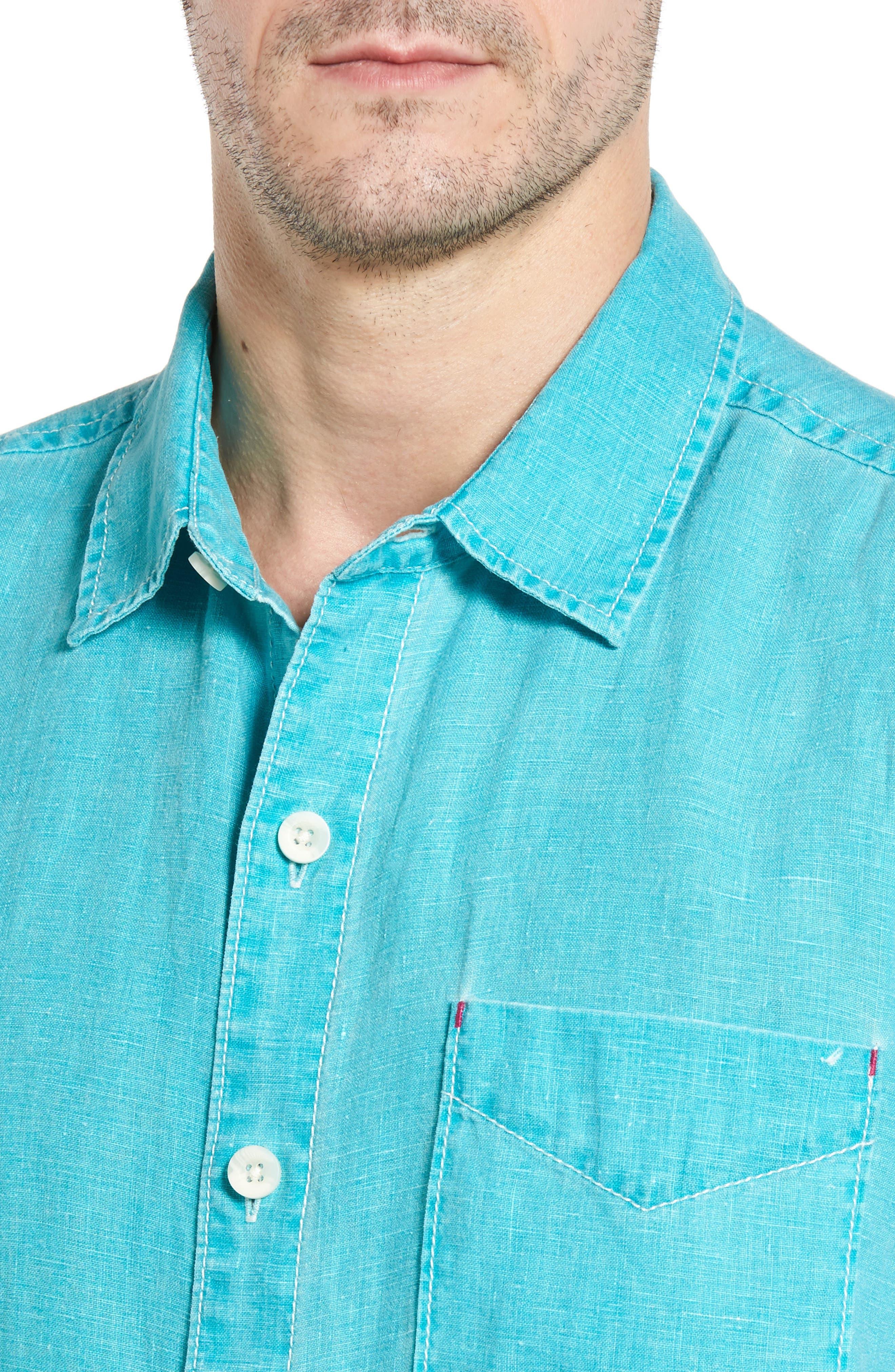 Seaglass Breezer Short Sleeve Linen Sport Shirt,                             Alternate thumbnail 39, color,