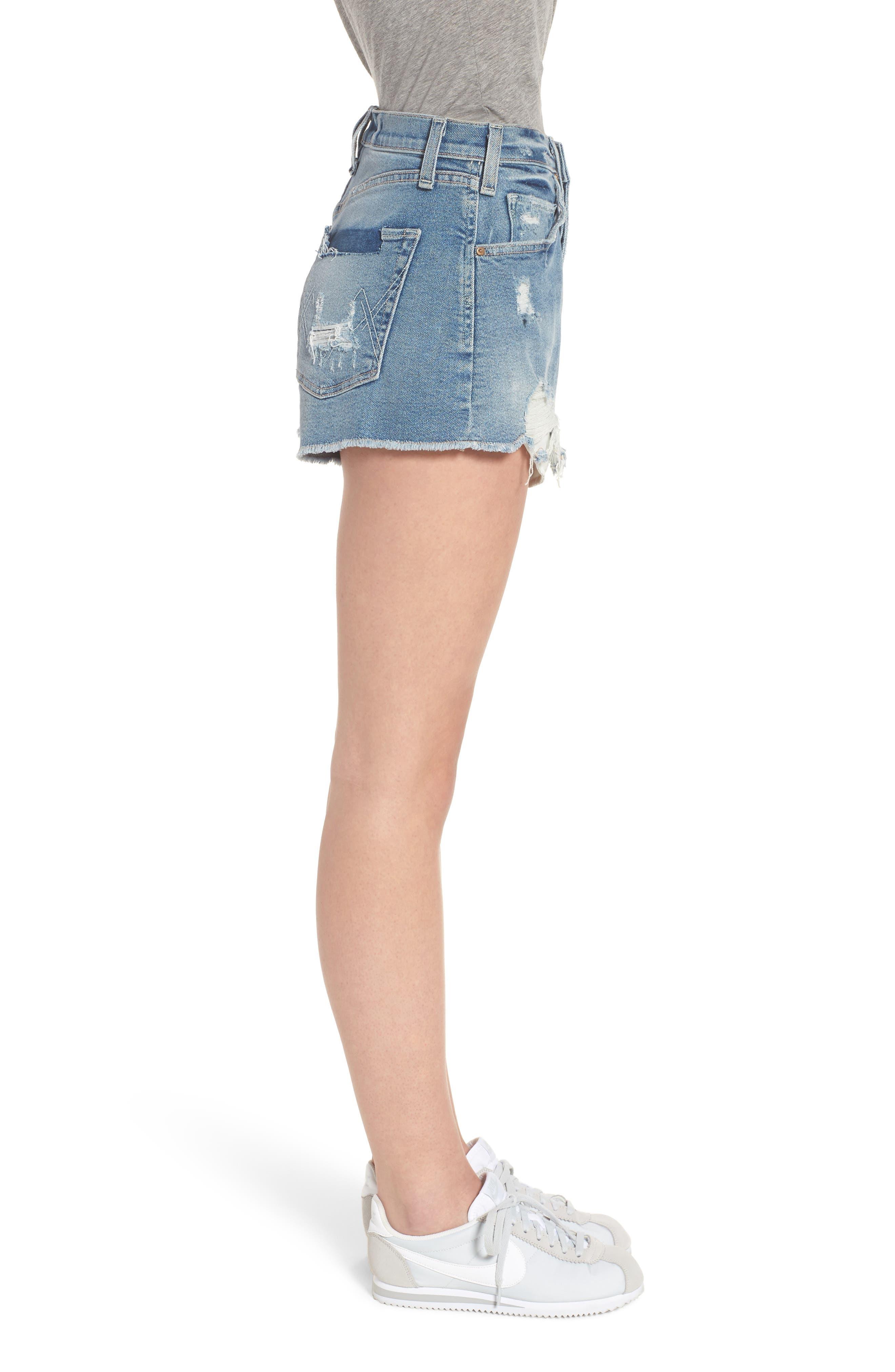 Georgia May Distressed Denim Shorts,                             Alternate thumbnail 3, color,                             450