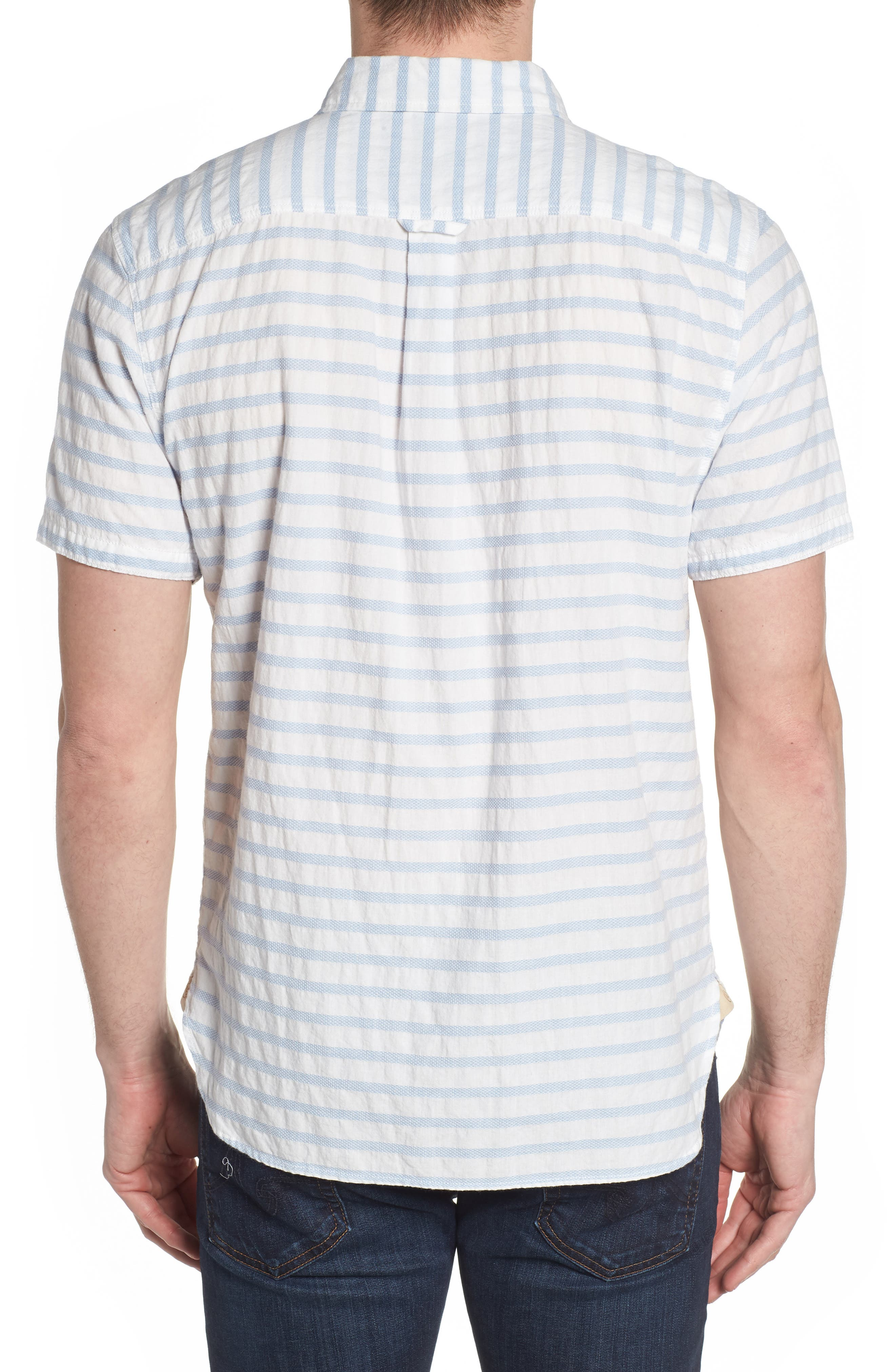 Truman Slim Fit Stripe Sport Shirt,                             Alternate thumbnail 2, color,                             WHITE/ BLUE