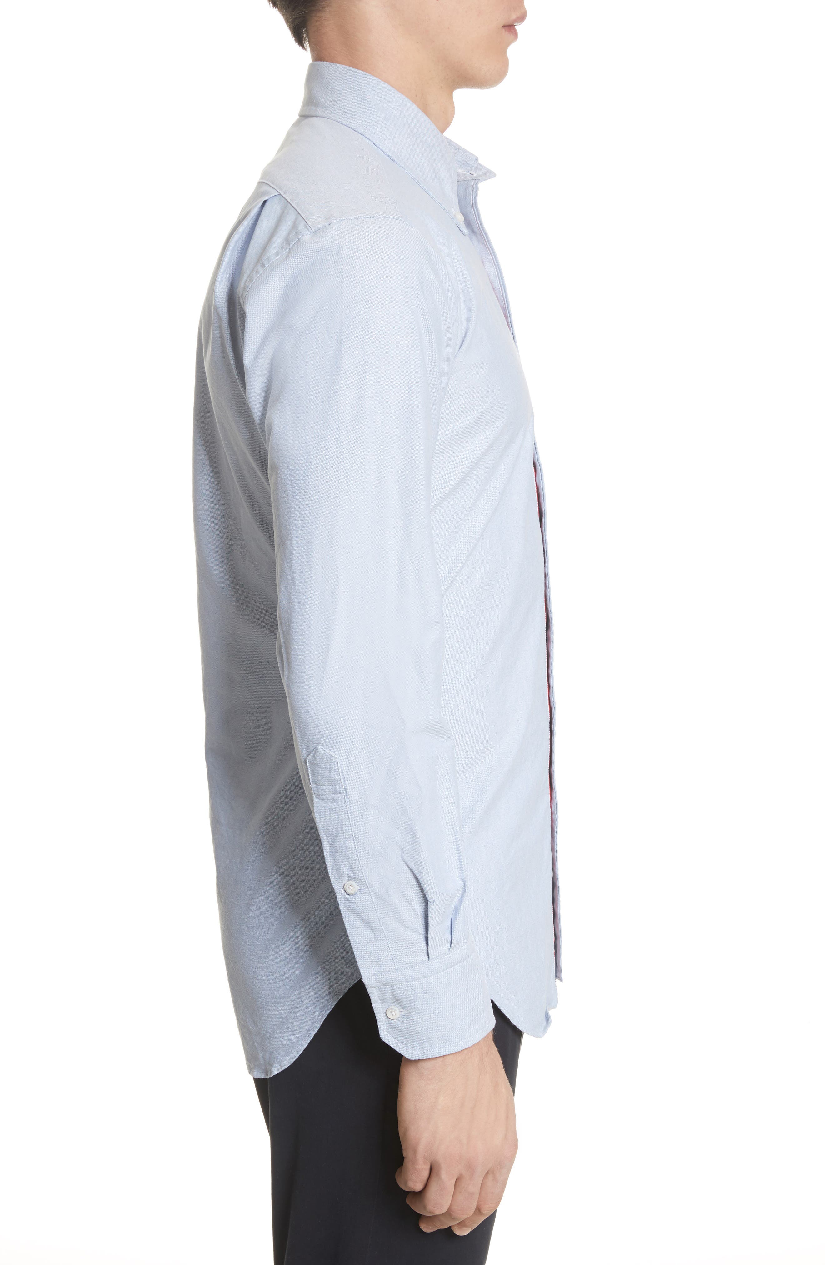 Extra Trim Fit Oxford Shirt with Grosgrain Trim,                             Alternate thumbnail 4, color,                             LIGHT BLUE