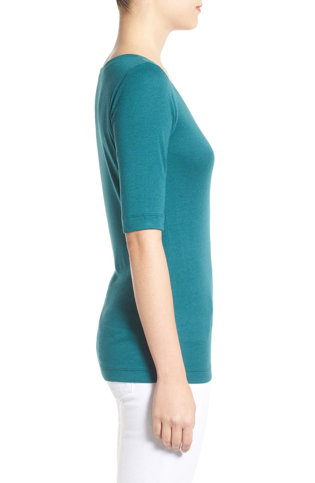 Ballet Neck Cotton & Modal Knit Elbow Sleeve Tee,                             Alternate thumbnail 87, color,