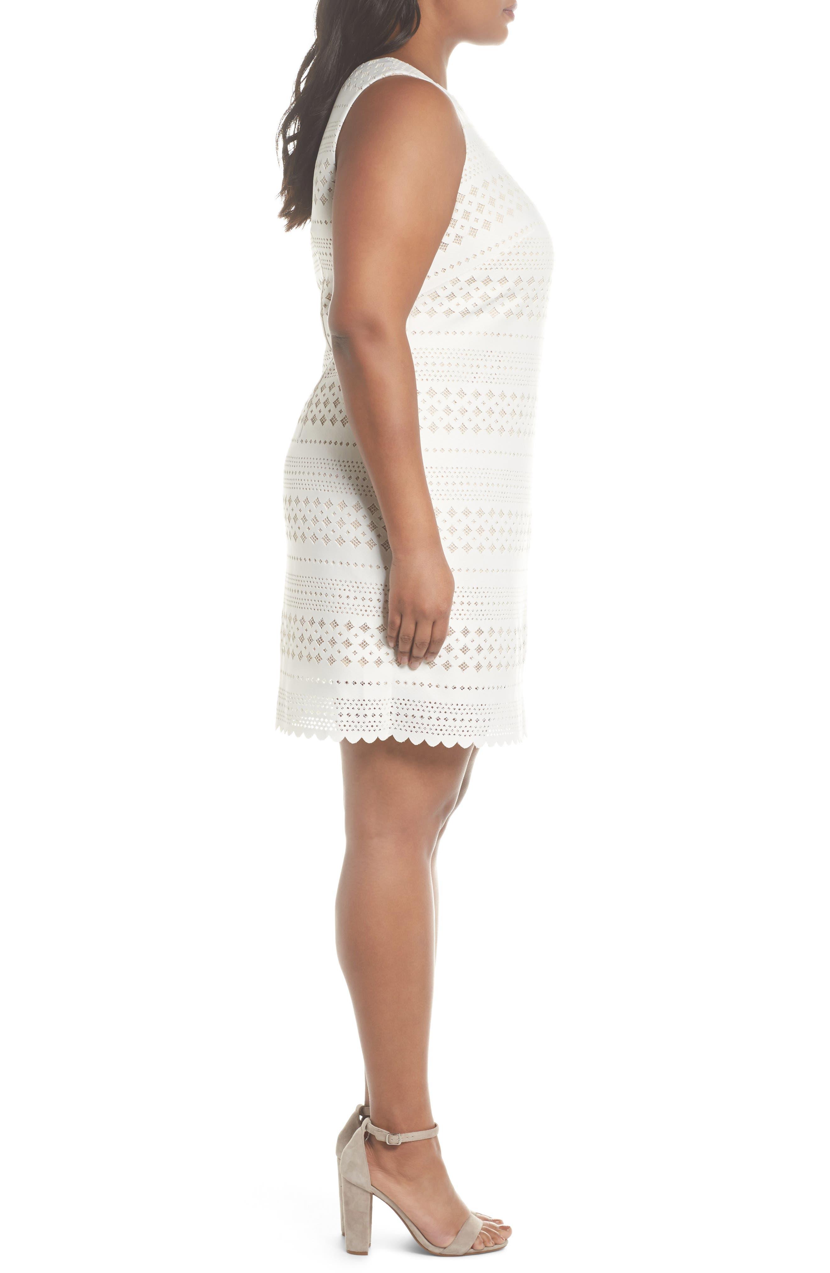 Lasercut Sheath Dress,                             Alternate thumbnail 3, color,