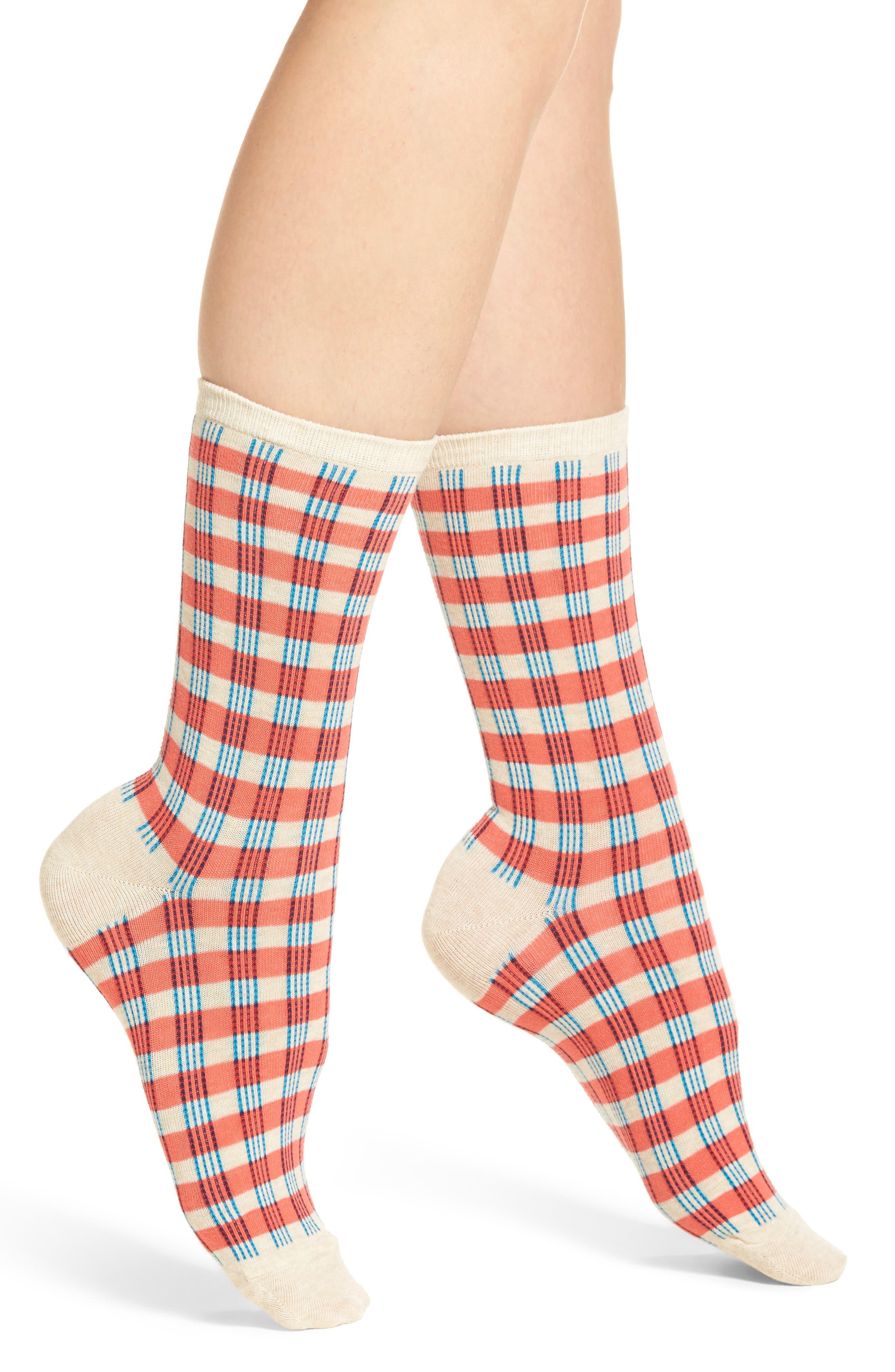 Gingham Crew Socks,                         Main,                         color, 830