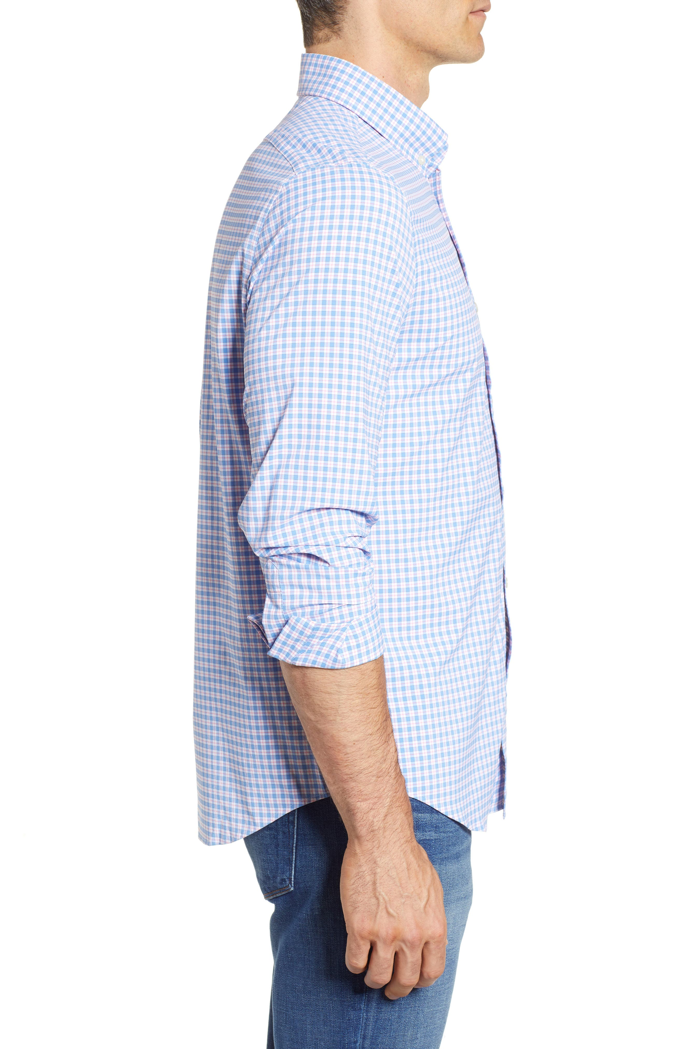 Oyster Pond Slim Fit Plaid Sport Shirt,                             Alternate thumbnail 3, color,                             OCEAN BREEZE