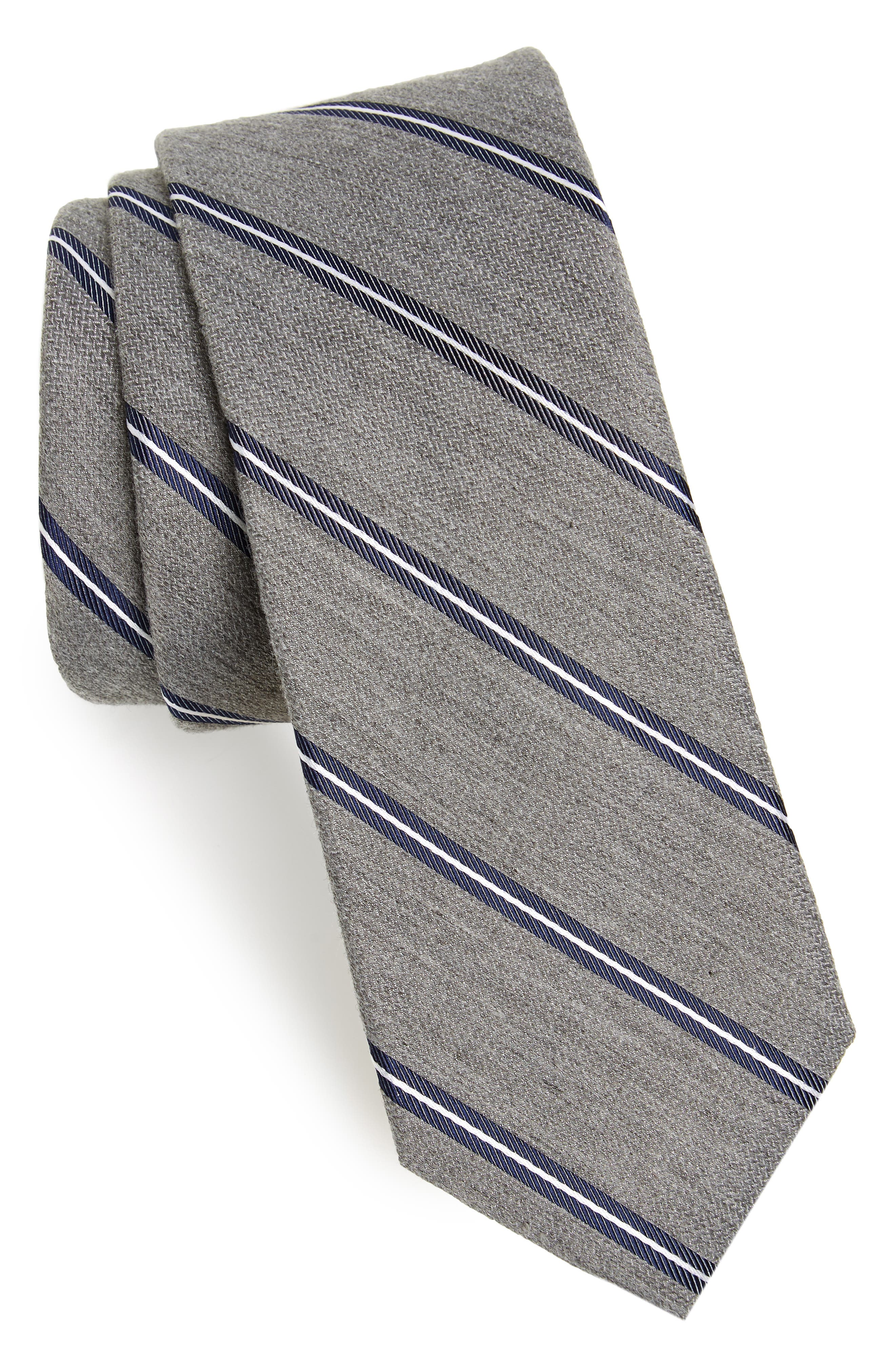 Edinger Stripe Silk & Cotton Tie,                             Main thumbnail 2, color,