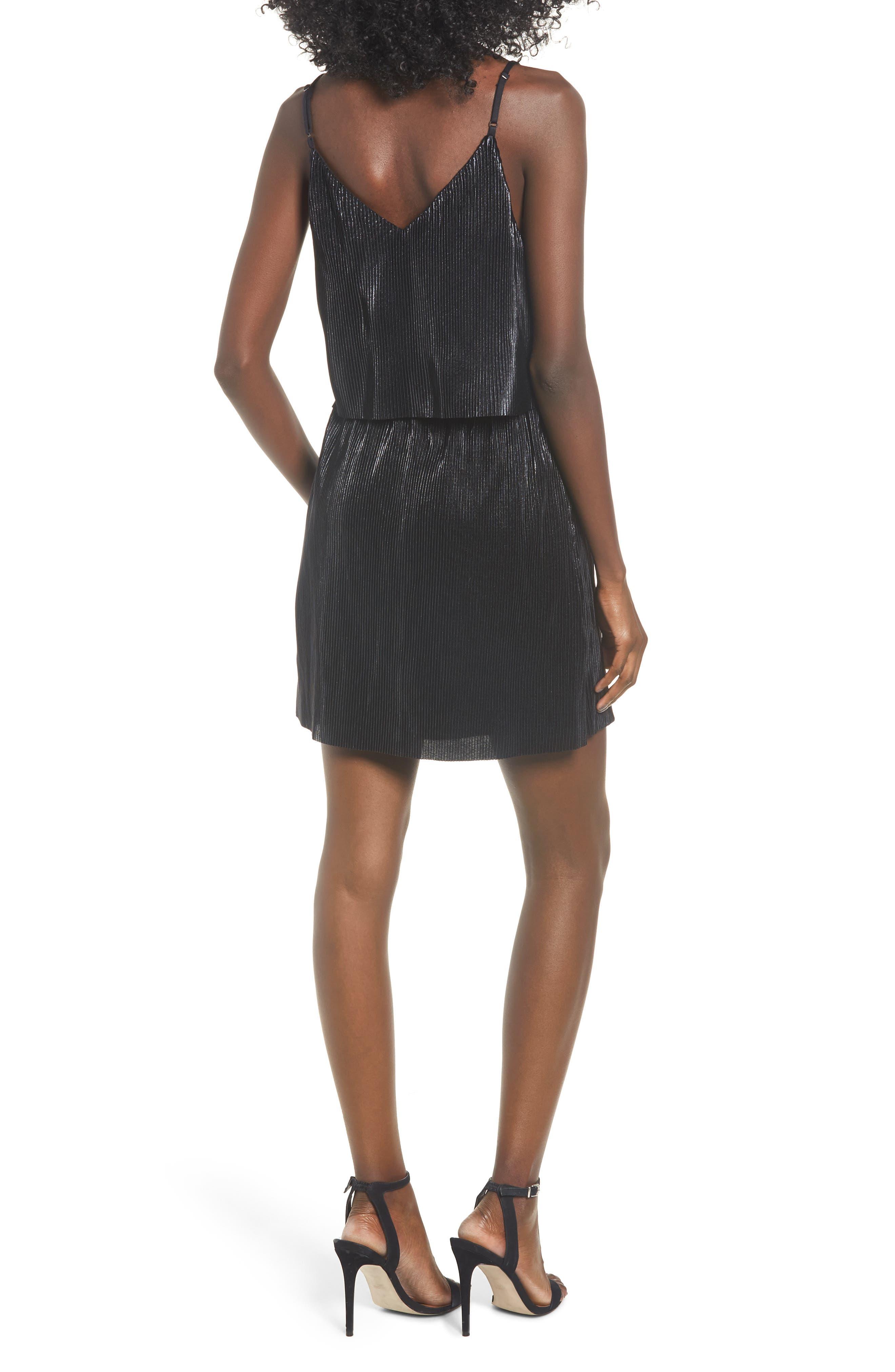 Shine On Shine On Pleated Dress,                             Alternate thumbnail 2, color,                             BLACK