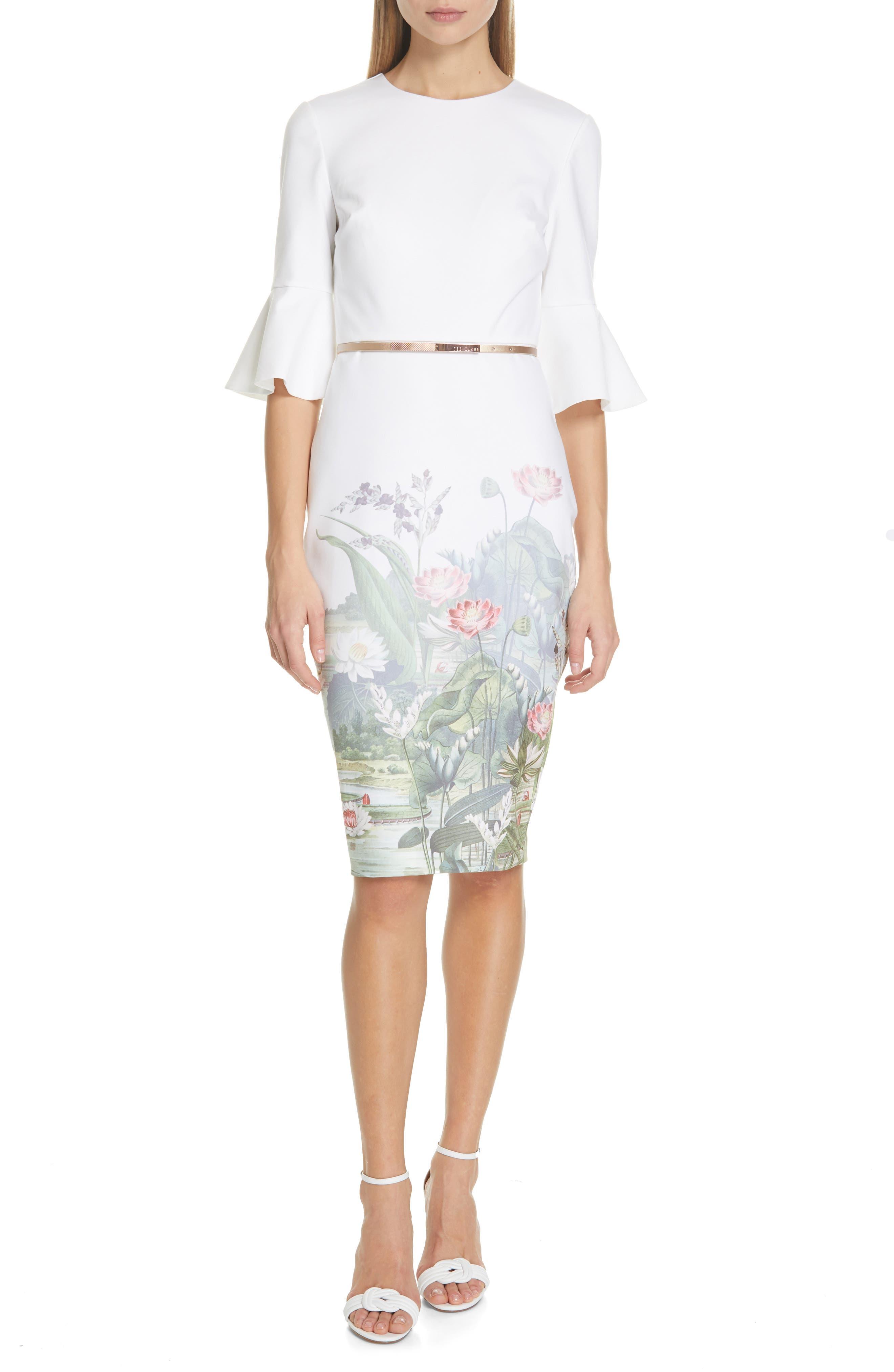 Ted Baker London Azania Wonderland Body-Con Dress, Ivory