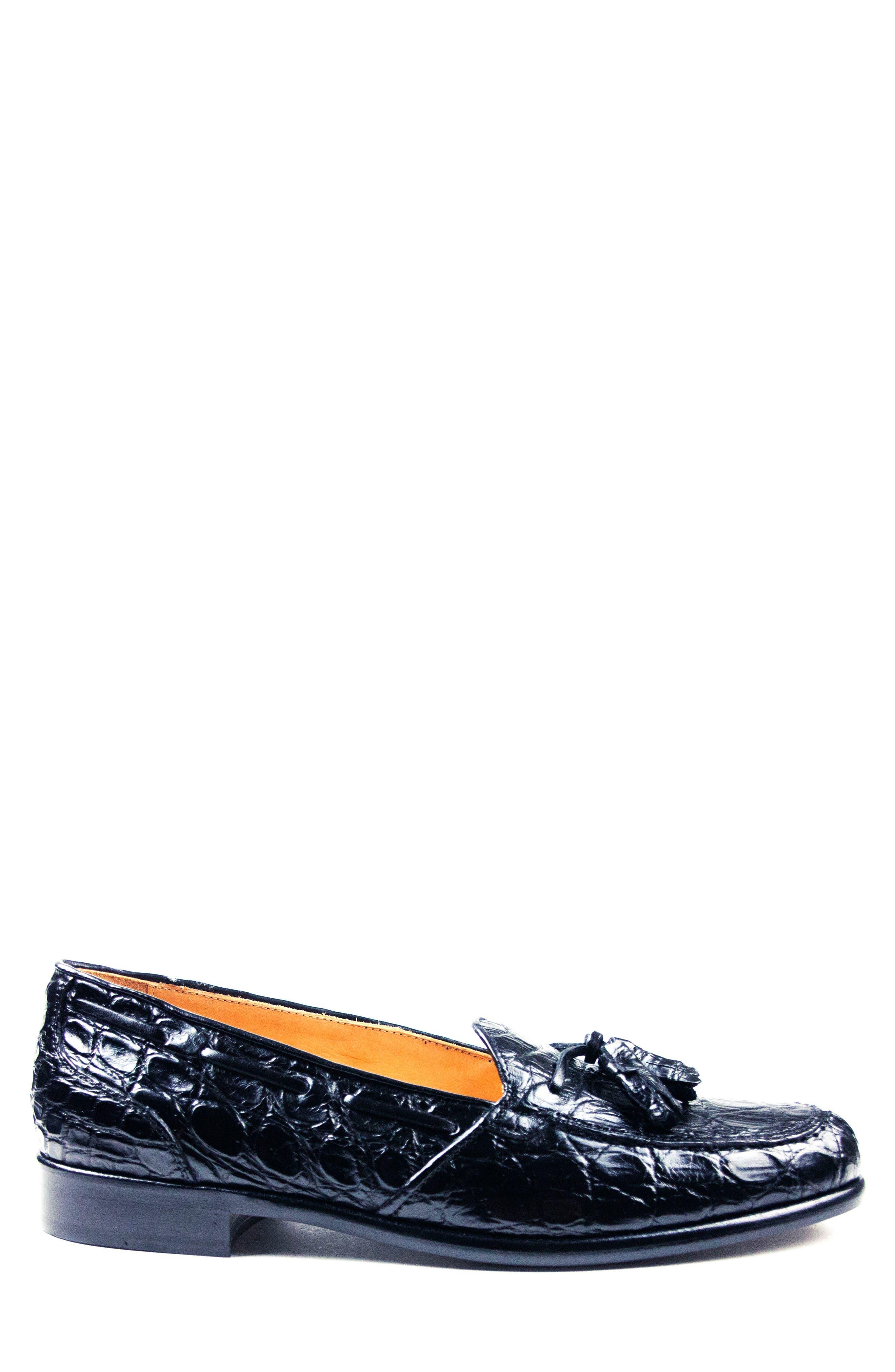 Franco Tassel Exotic Leather Loafer,                             Alternate thumbnail 3, color,                             001