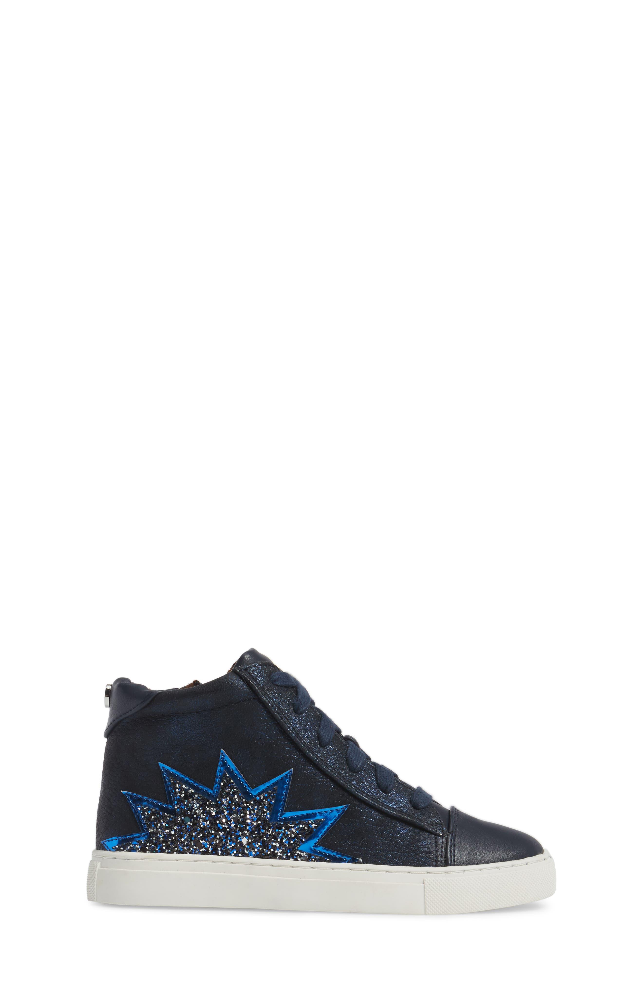 Jflash Glitter Star High Top Sneaker,                             Alternate thumbnail 3, color,